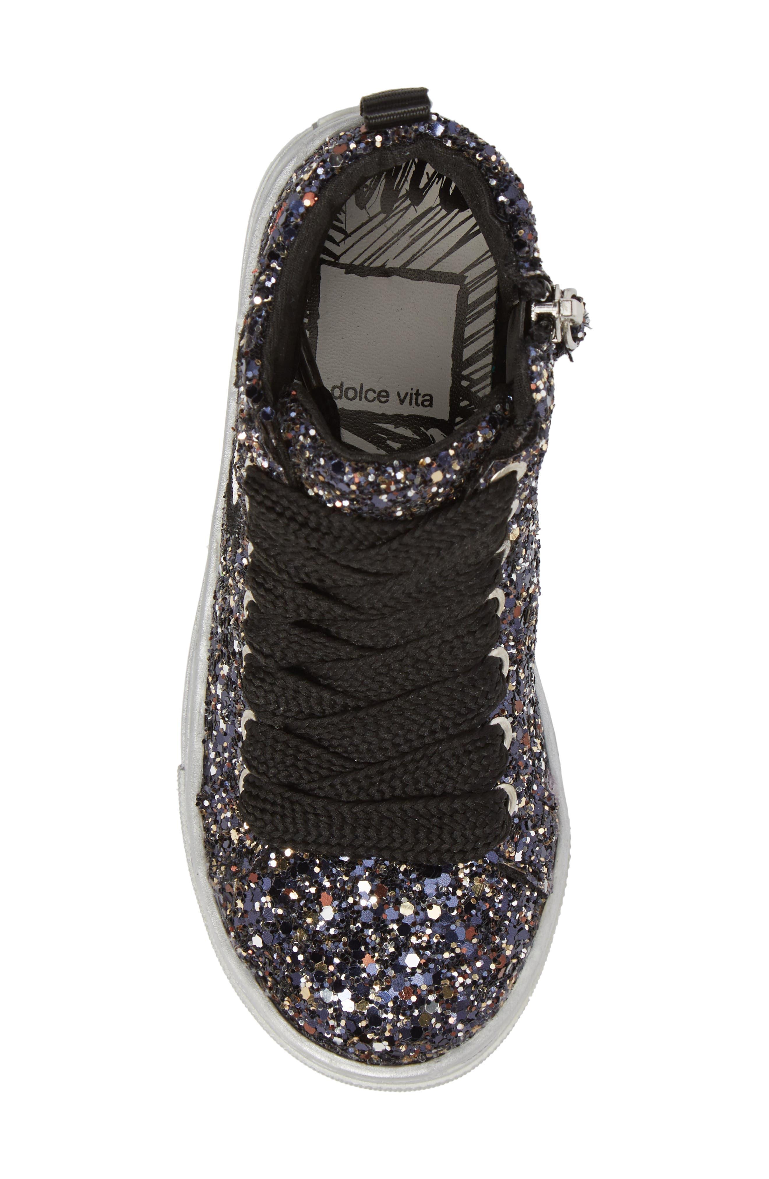 Zaine Glittery High Top Sneaker,                             Alternate thumbnail 5, color,                             Black Multi Glitter