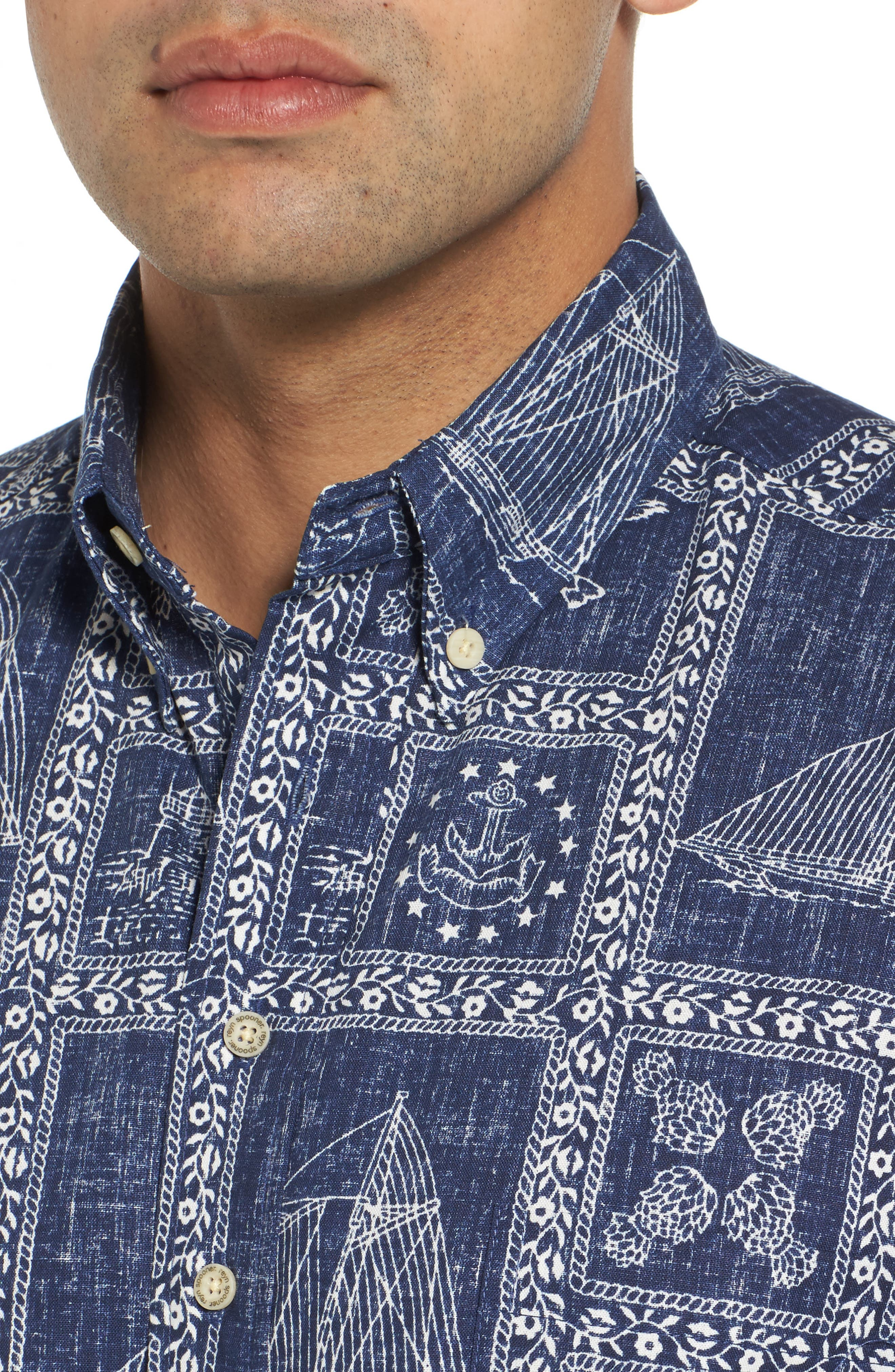 Newport Sailor Button Down Polo,                             Alternate thumbnail 4, color,                             Navy
