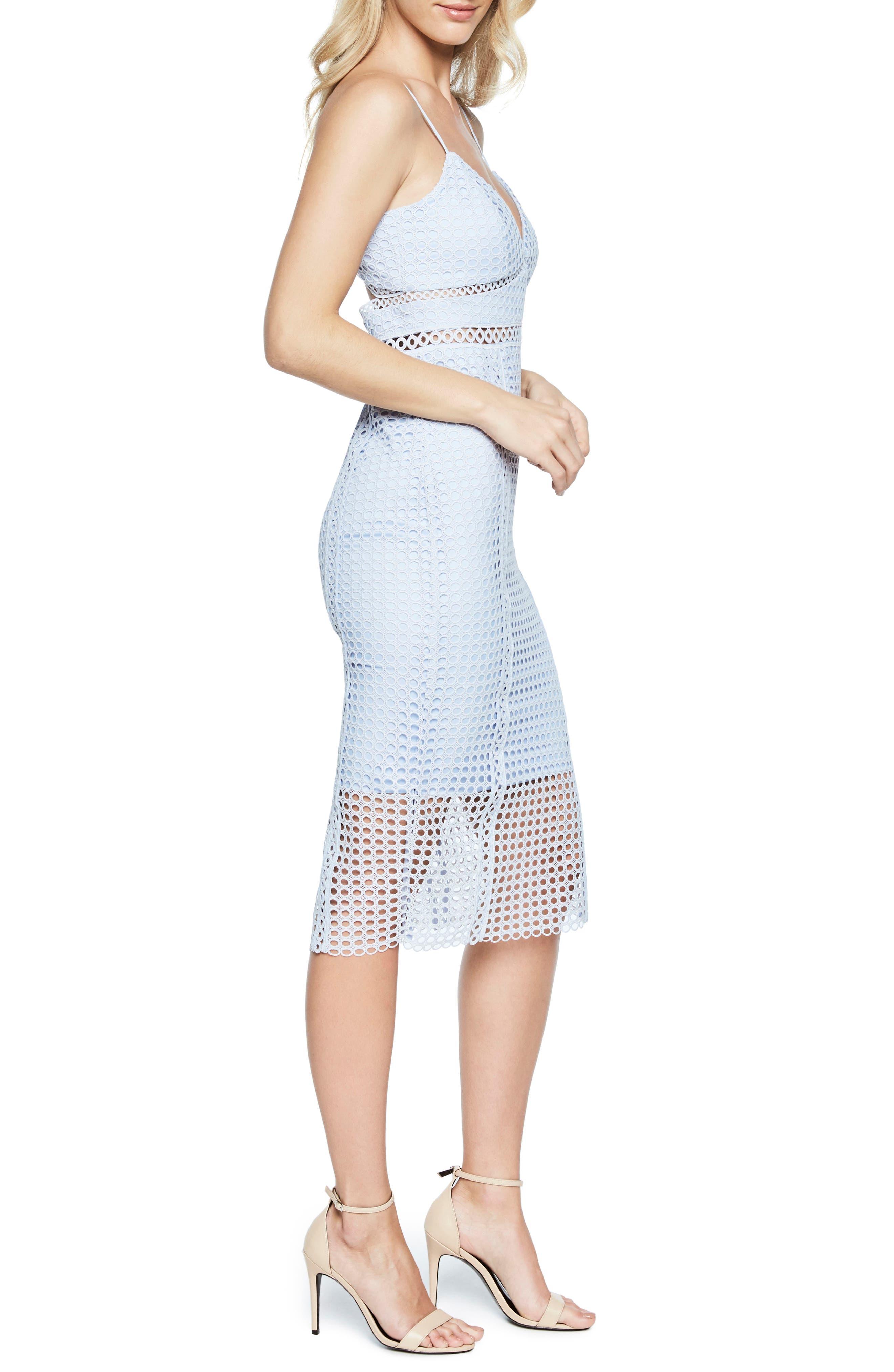 Circle Lace Dress,                             Alternate thumbnail 3, color,                             Steel Blue