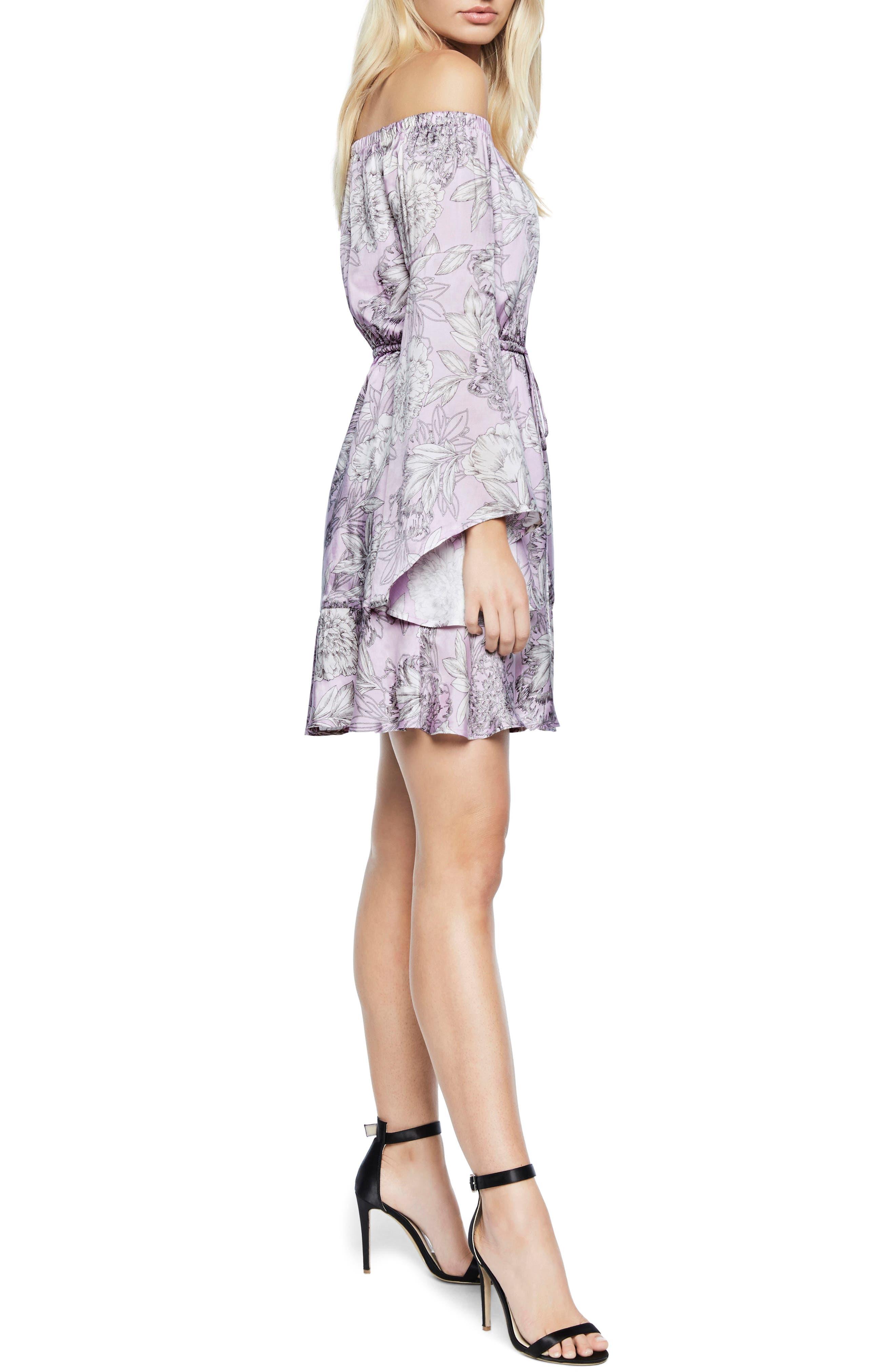 Britt Off the Shoulder Dress,                             Alternate thumbnail 4, color,                             Spring Bloom