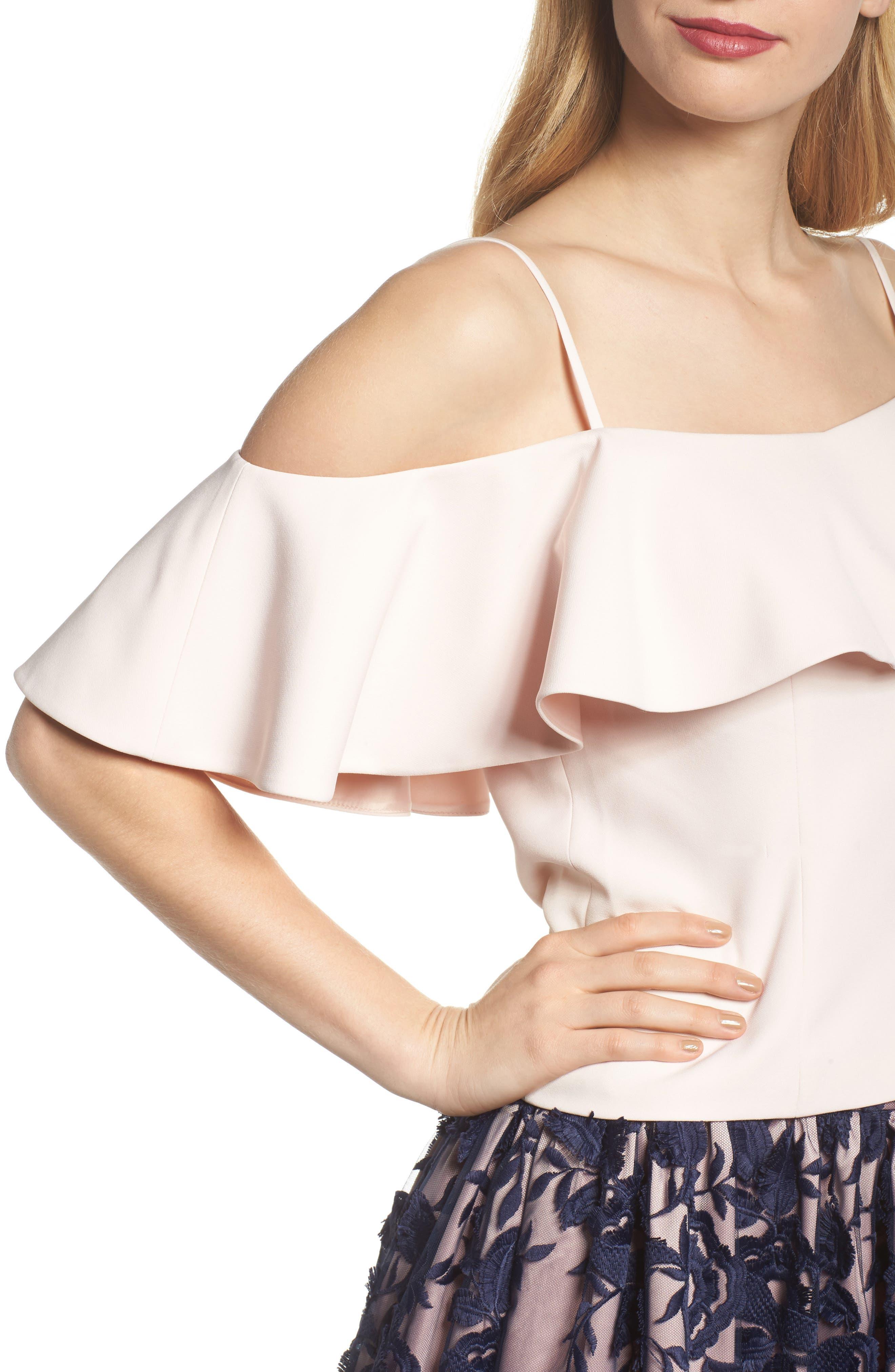 Alternate Image 4  - Eliza J Ruffled Cold Shoulder Top