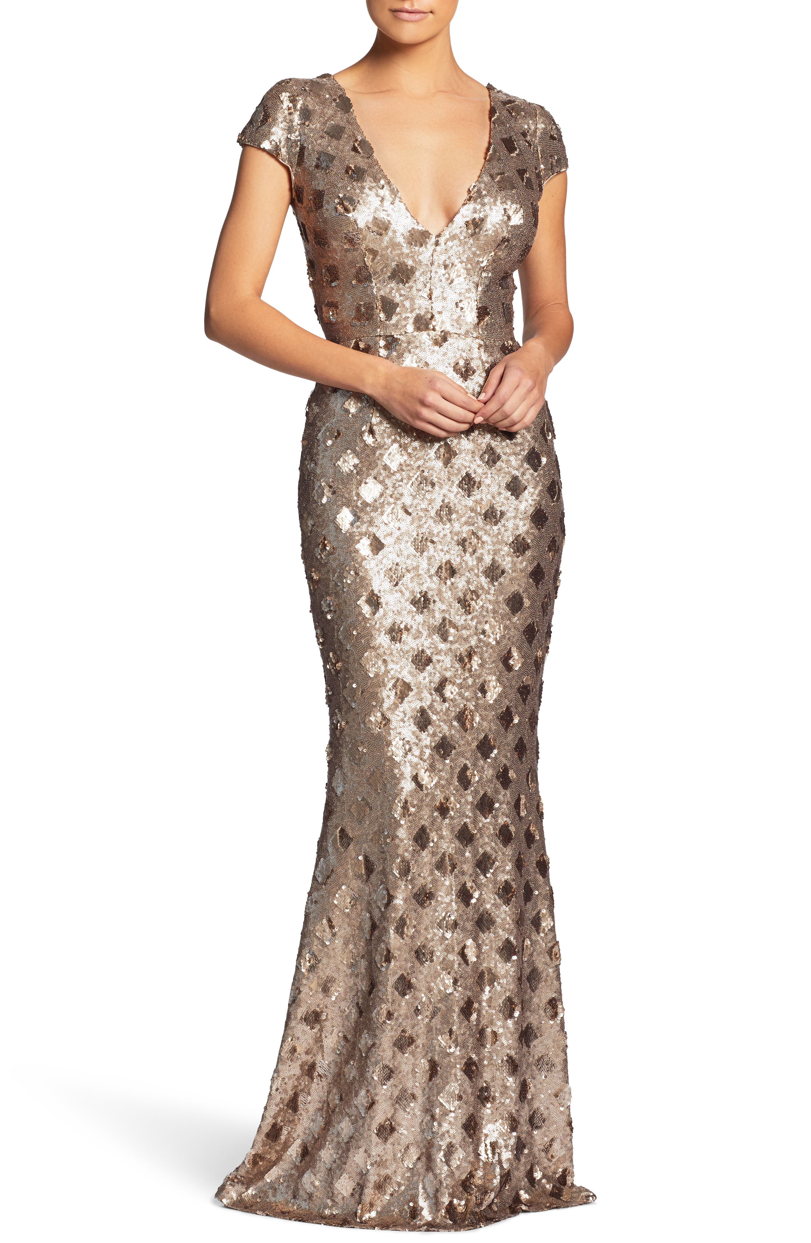 Lina Patterned Sequin Trumpet Gown,                             Main thumbnail 1, color,                             Brass