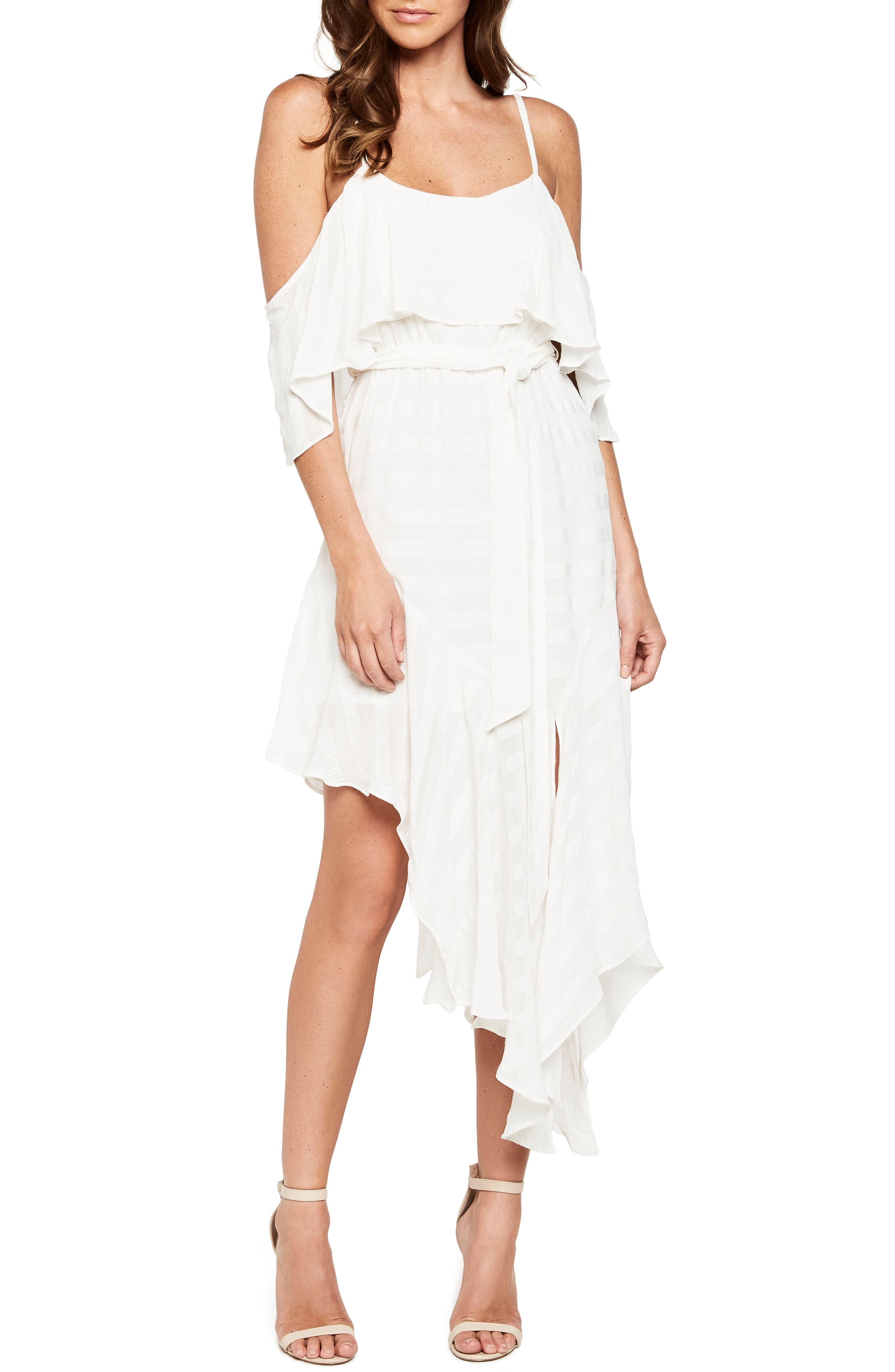Elle Frill Cold Shoulder Dress,                         Main,                         color, Ivory