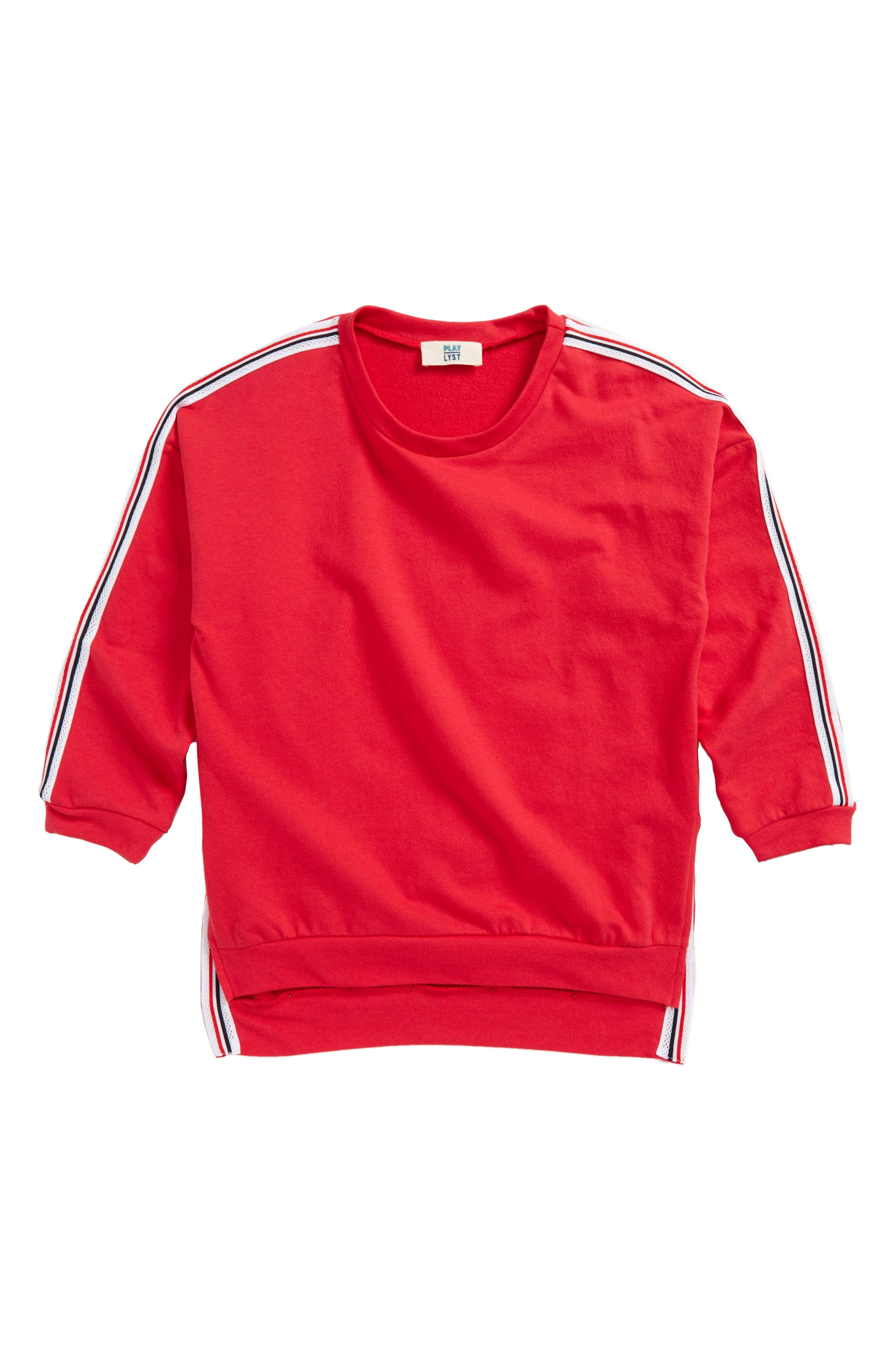 Stripe Trim Sweatshirt,                             Main thumbnail 1, color,                             Red