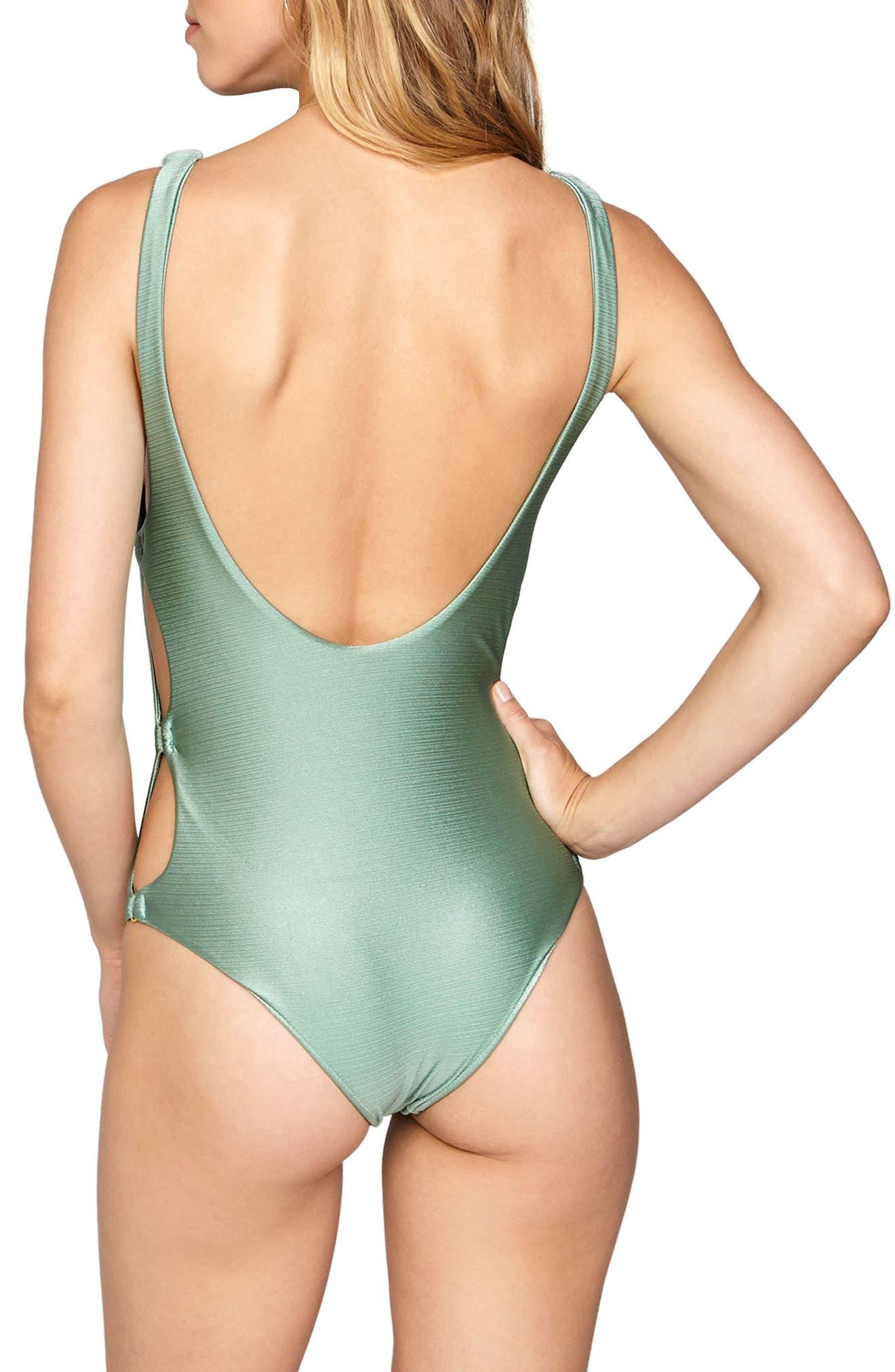 Estelle Cutout One-Piece Swimsuit,                             Alternate thumbnail 3, color,                             Sage