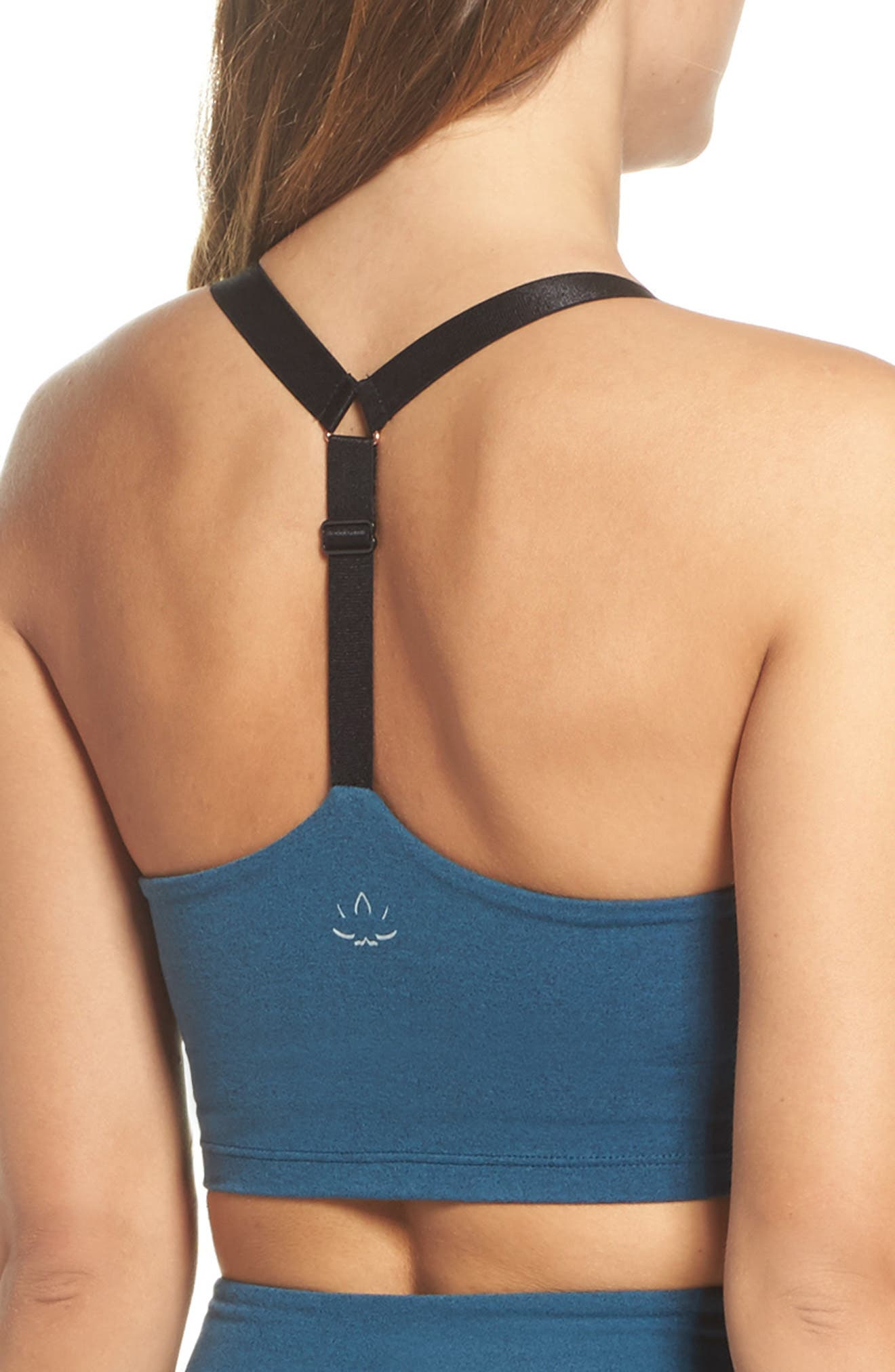 Block & Key Sports Bra,                             Alternate thumbnail 2, color,                             Deep Sapphire Heather