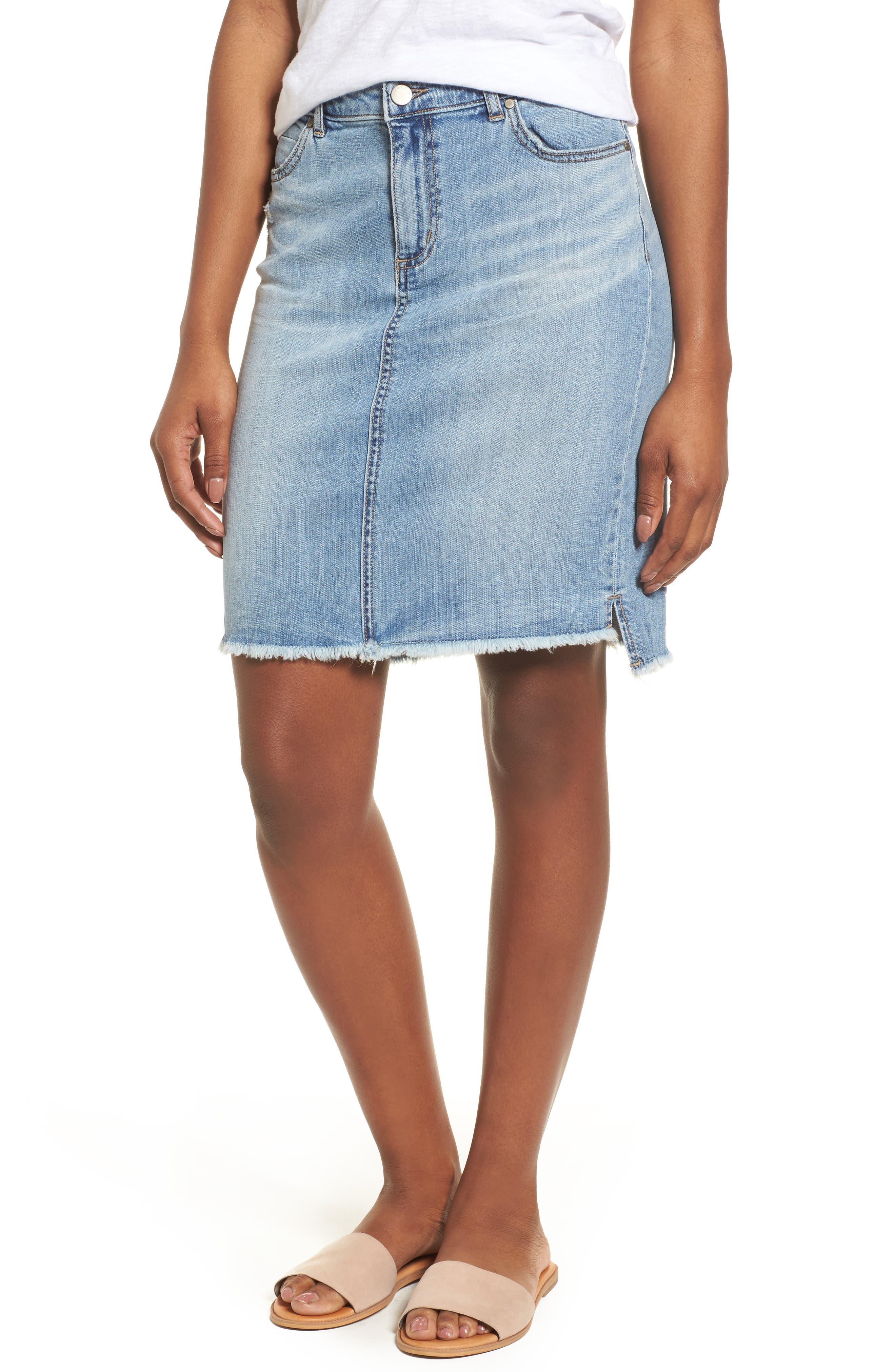 Caslon® Release Hem Denim Skirt (Regular & Petite)