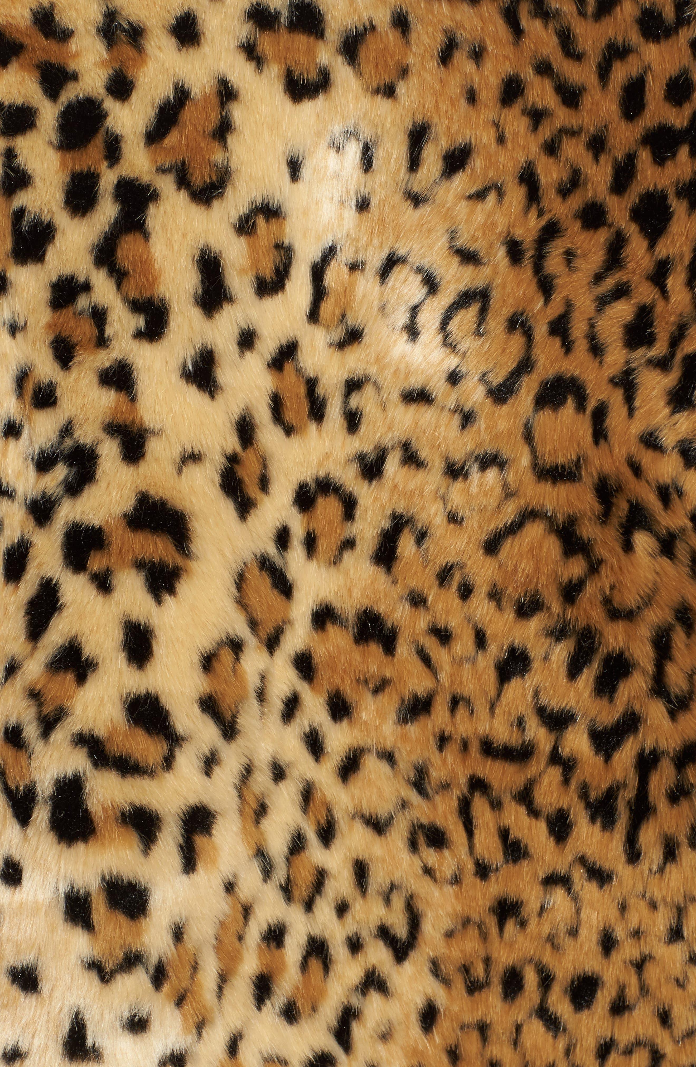 Faux Fur Leopard Jacket,                             Alternate thumbnail 5, color,                             Beige/ Black