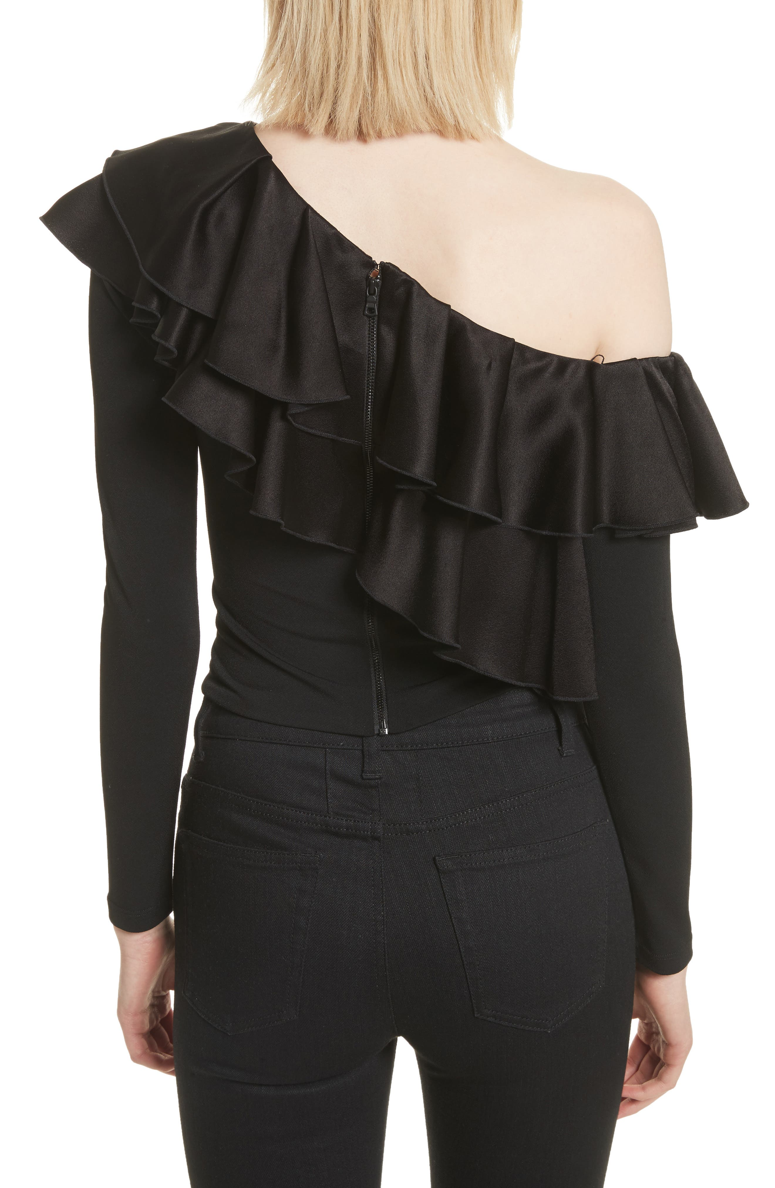 Izzy One-Shoulder Ruffle Crop Top,                             Alternate thumbnail 2, color,                             Black
