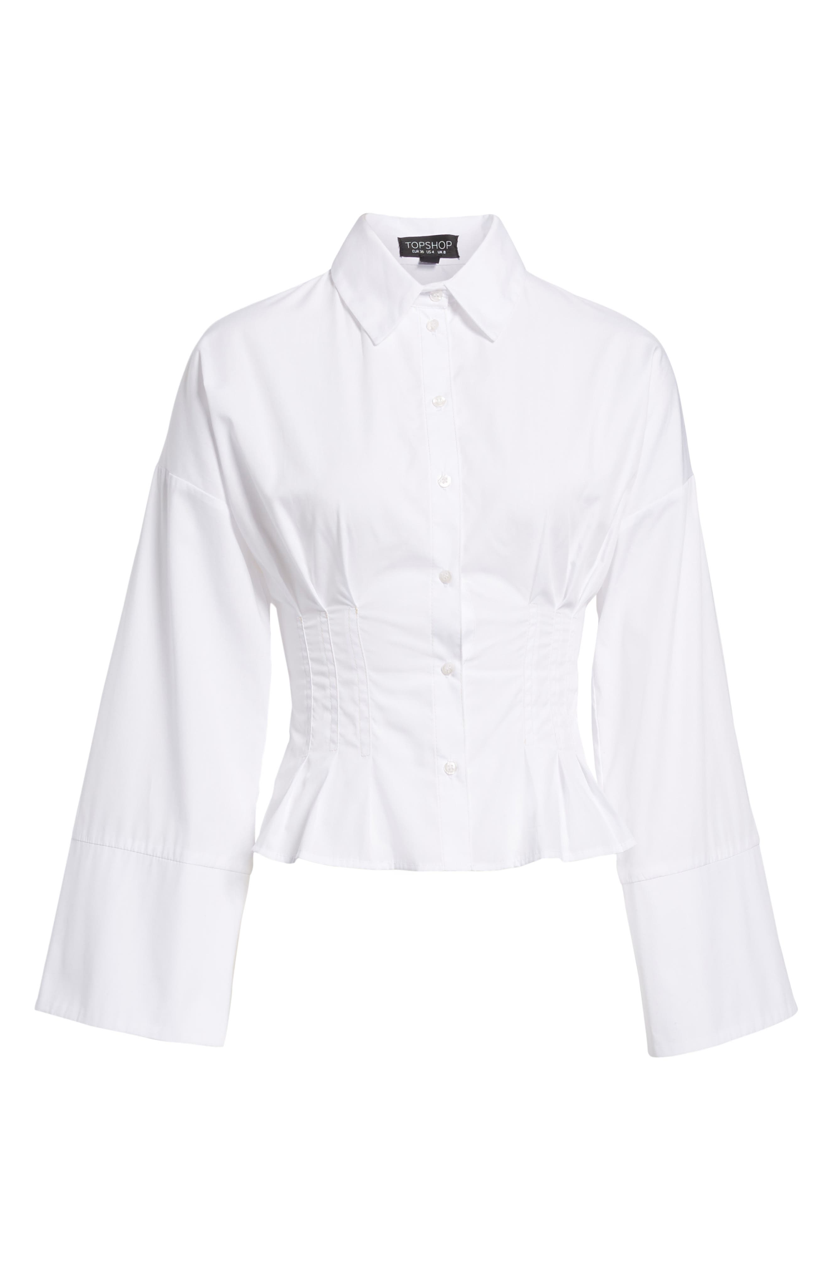 Tuck Waist Corset Shirt,                             Alternate thumbnail 6, color,                             Ivory