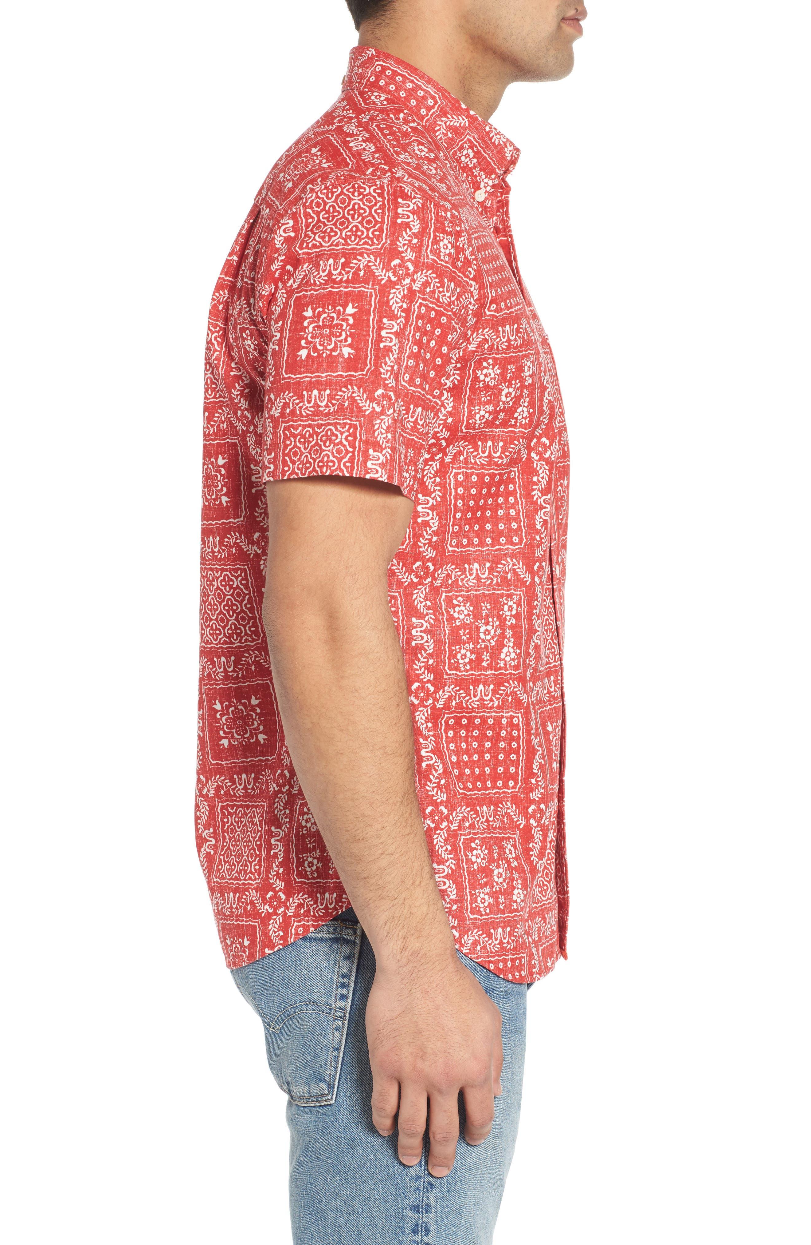Lahaina Sailor Tailored Fit Sport Shirt,                             Alternate thumbnail 4, color,                             Cherry