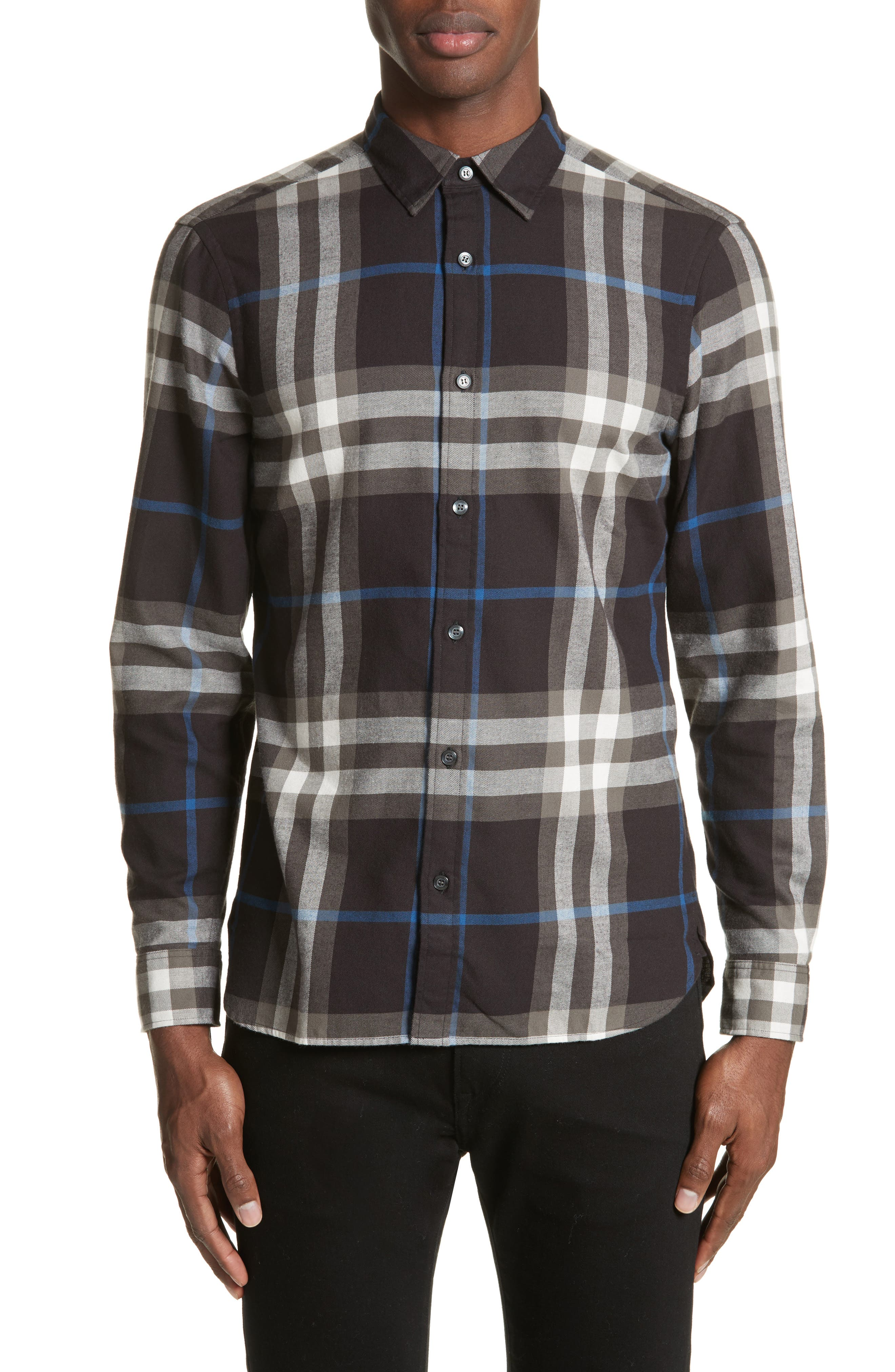 Salwick Slim Fit Sport Shirt,                             Main thumbnail 1, color,                             Black
