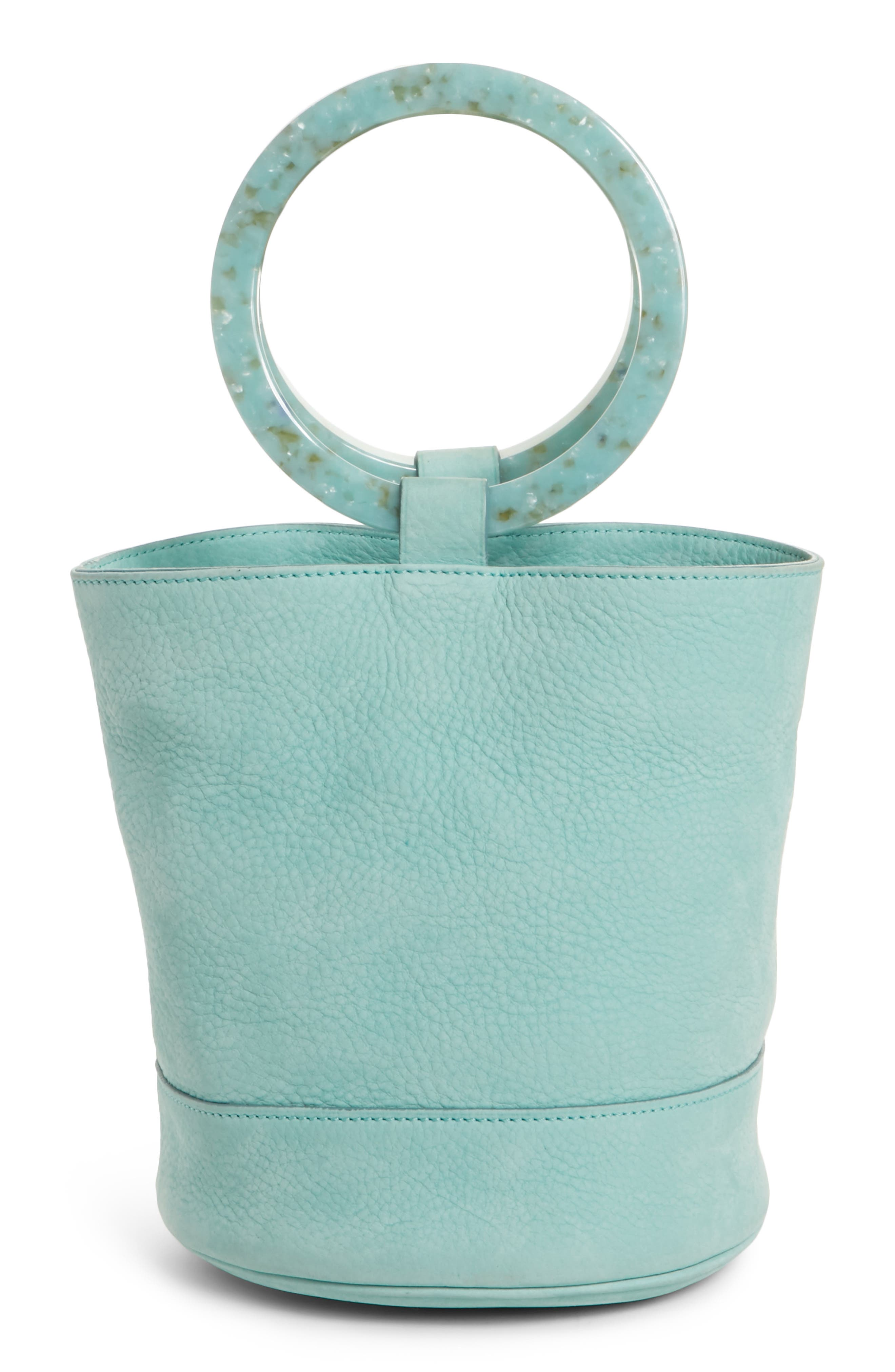 Bonsai 20 Pebbled Leather Bucket Bag,                         Main,                         color, Splash