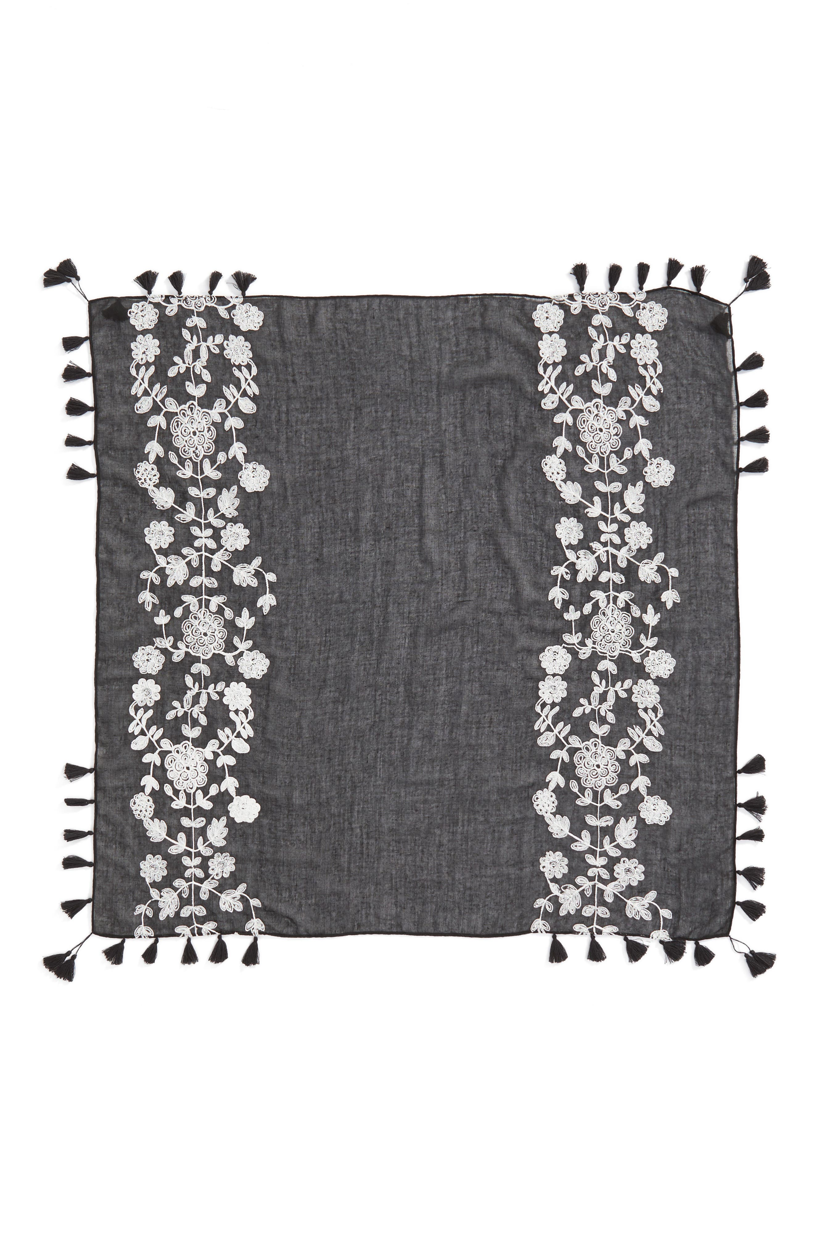 Embroidered Square Scarf,                             Alternate thumbnail 3, color,                             Black