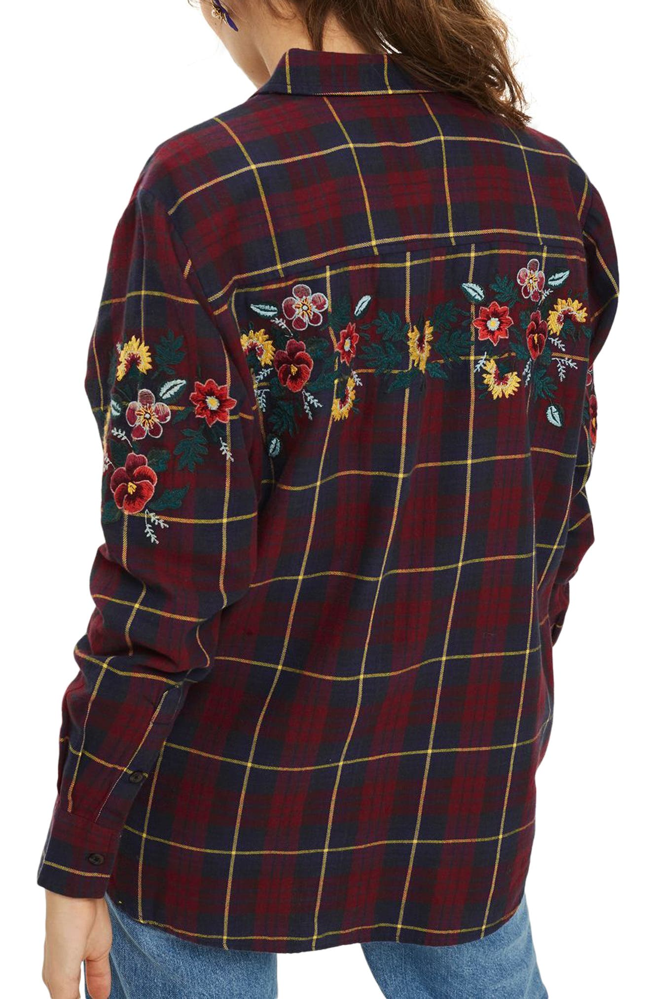 Floral Embroidered Check Shirt,                             Alternate thumbnail 2, color,                             Navy Blue Multi 2
