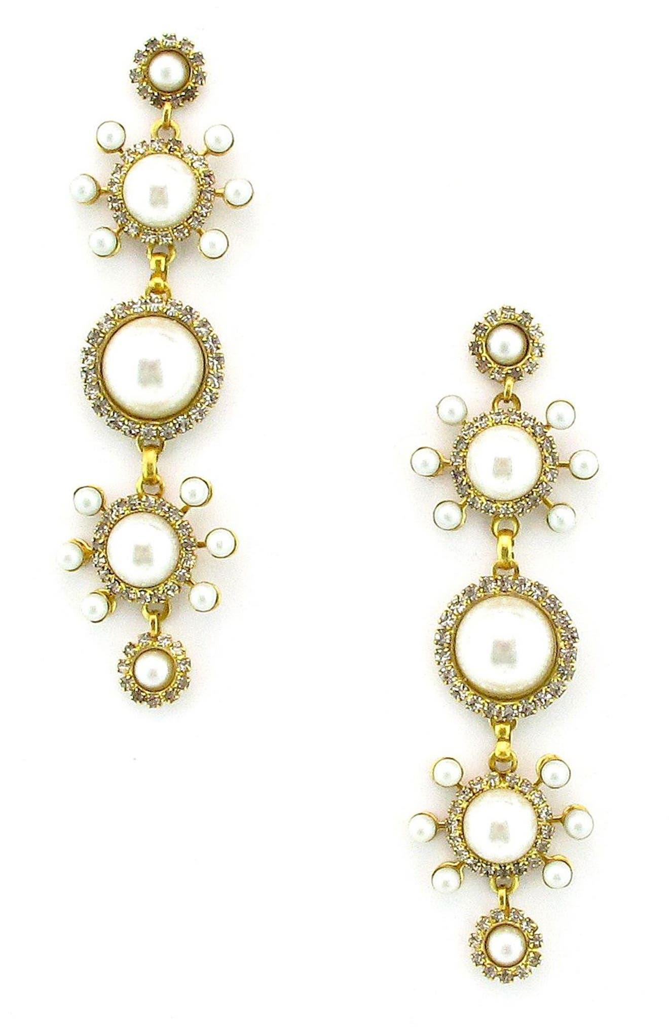 Gretchen Imitation Pearl Linear Earrings,                         Main,                         color, Pearl