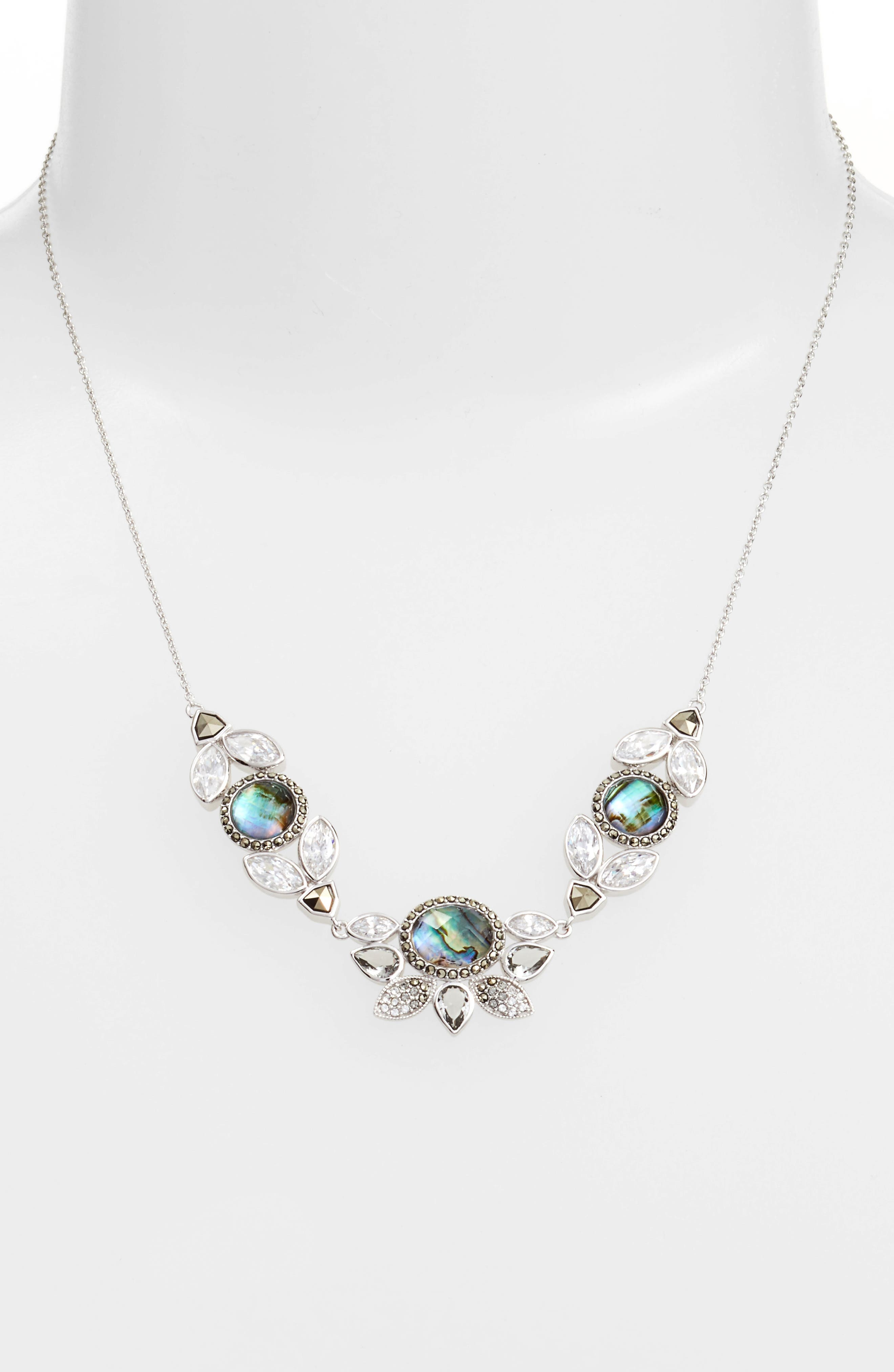 Cluster Frontal Necklace,                         Main,                         color, Abalone/ Silver