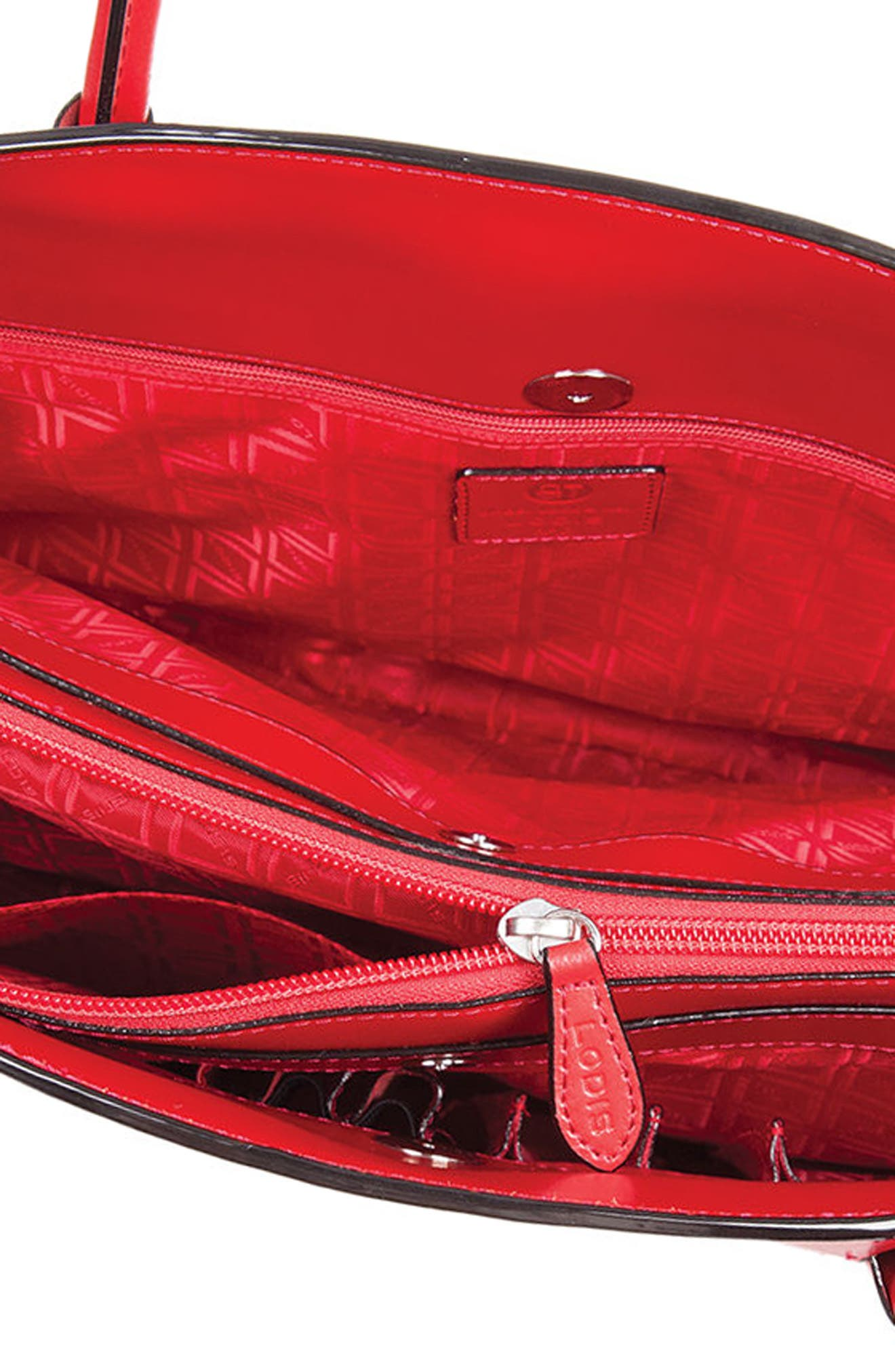 Audrey Under Lock & Key - Milano RFID Leather Tote,                             Alternate thumbnail 3, color,                             Red