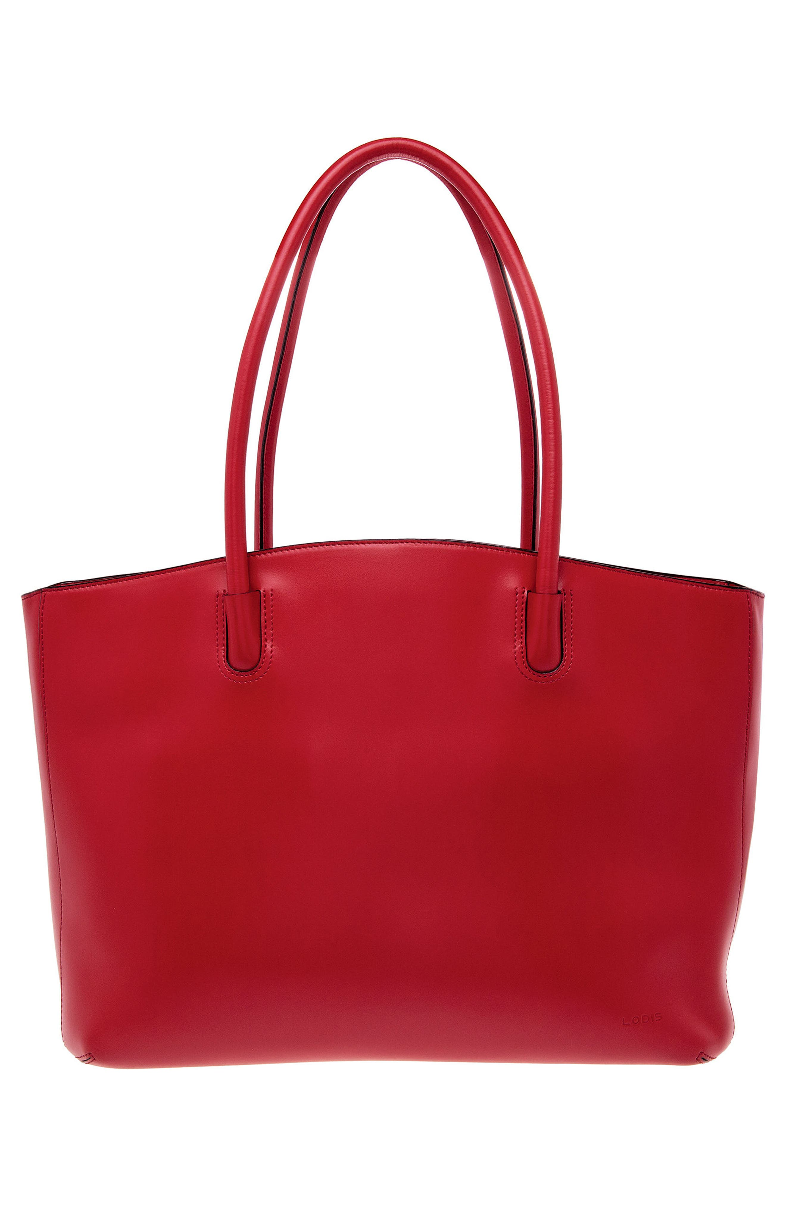Audrey Under Lock & Key - Milano RFID Leather Tote,                             Alternate thumbnail 2, color,                             Red