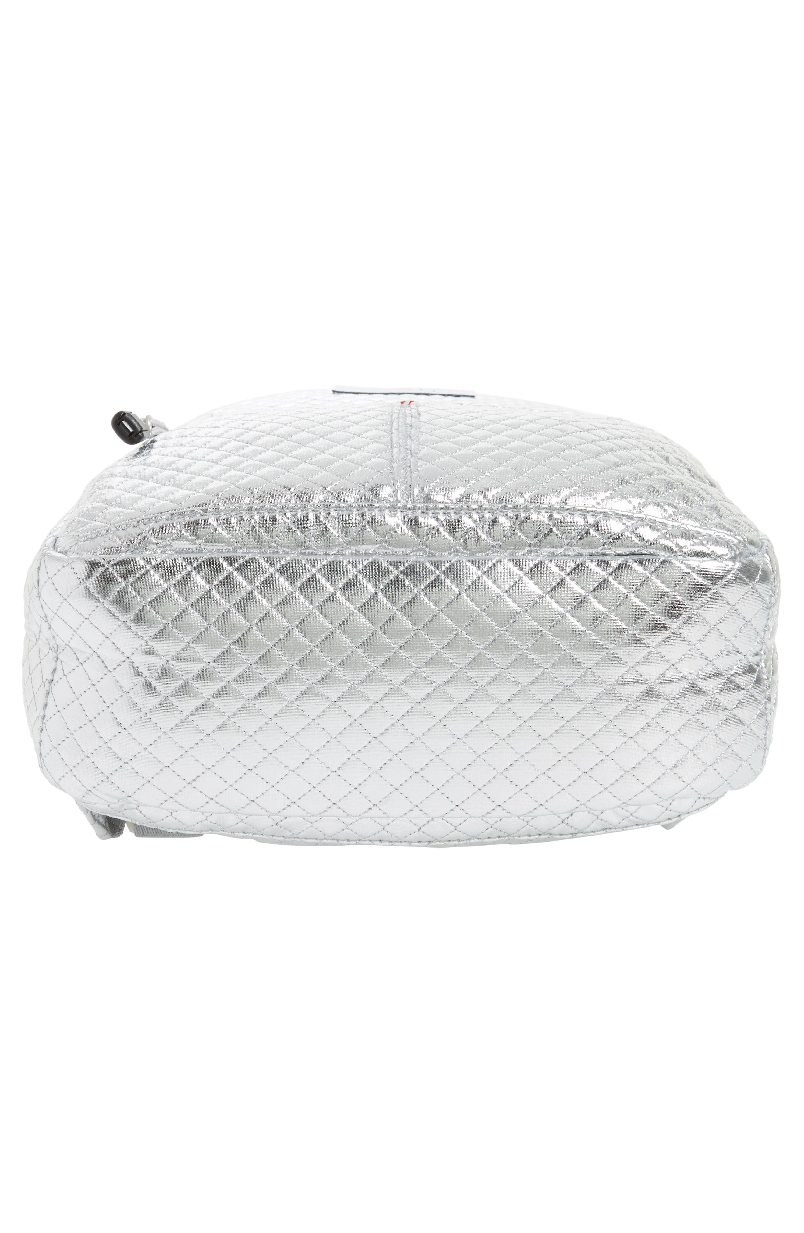 Flatbush Mini Kane Backpack,                             Alternate thumbnail 6, color,                             Silver Quilted
