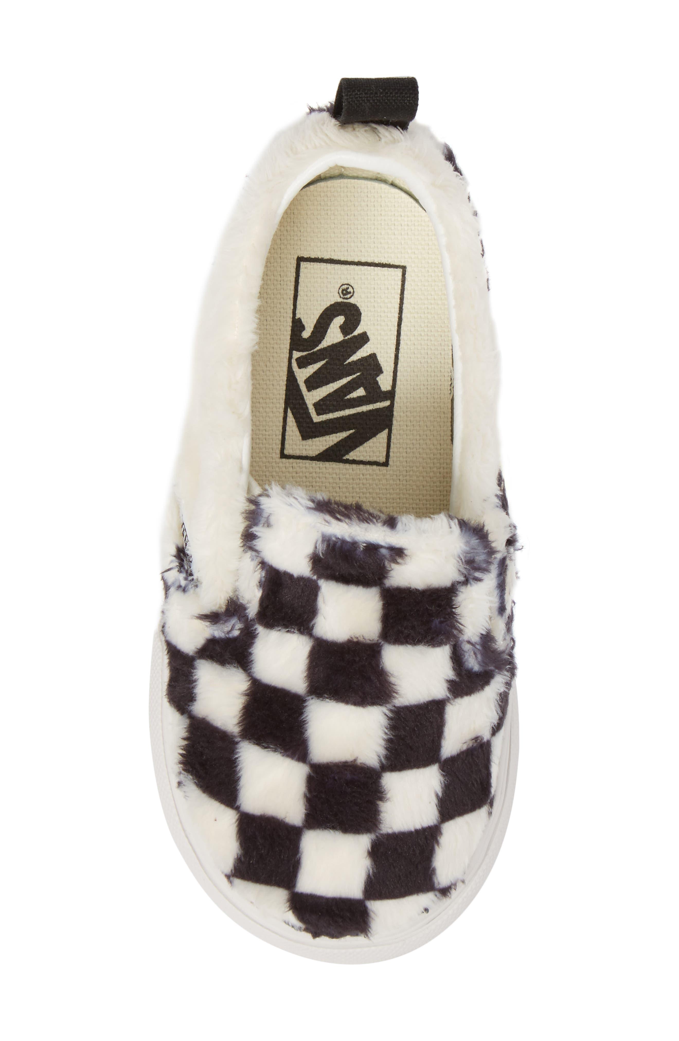 Faux Fur Slip-On Sneaker,                             Alternate thumbnail 5, color,                             Black/ White Sherpa Check