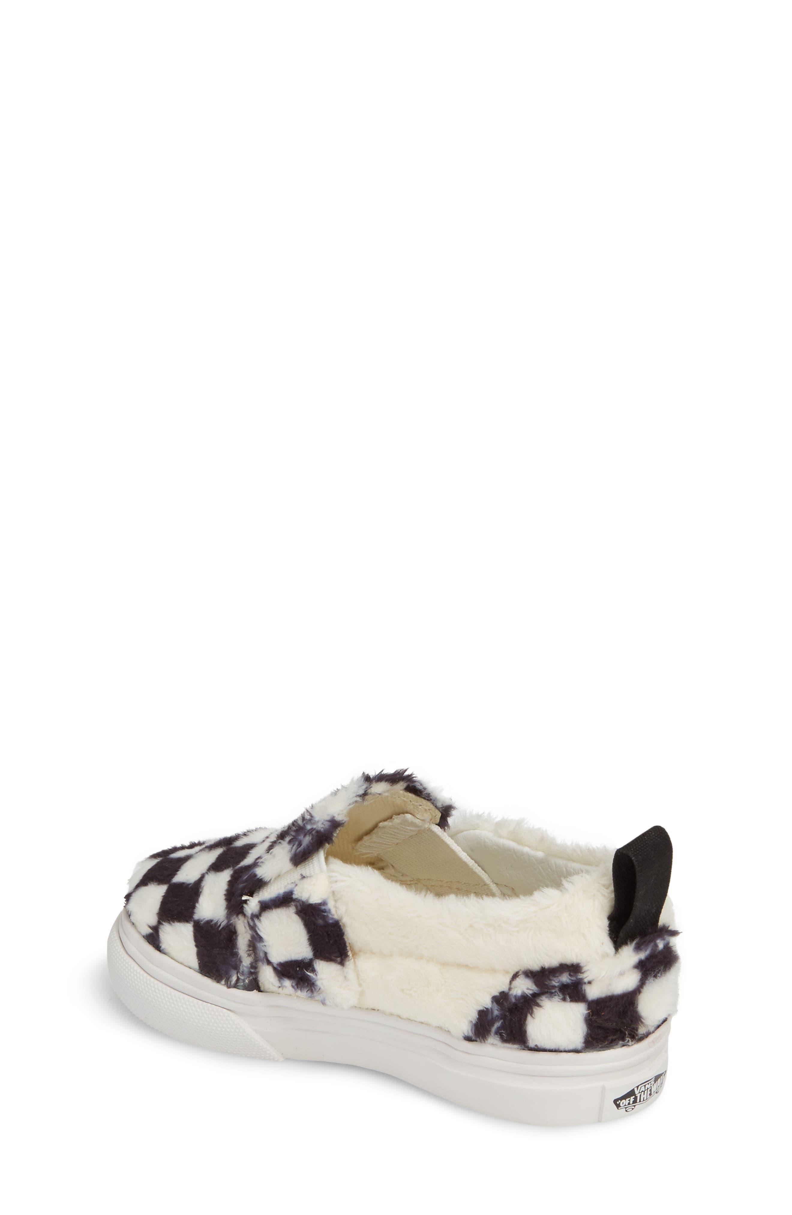 Faux Fur Slip-On Sneaker,                             Alternate thumbnail 2, color,                             Black/ White Sherpa Check