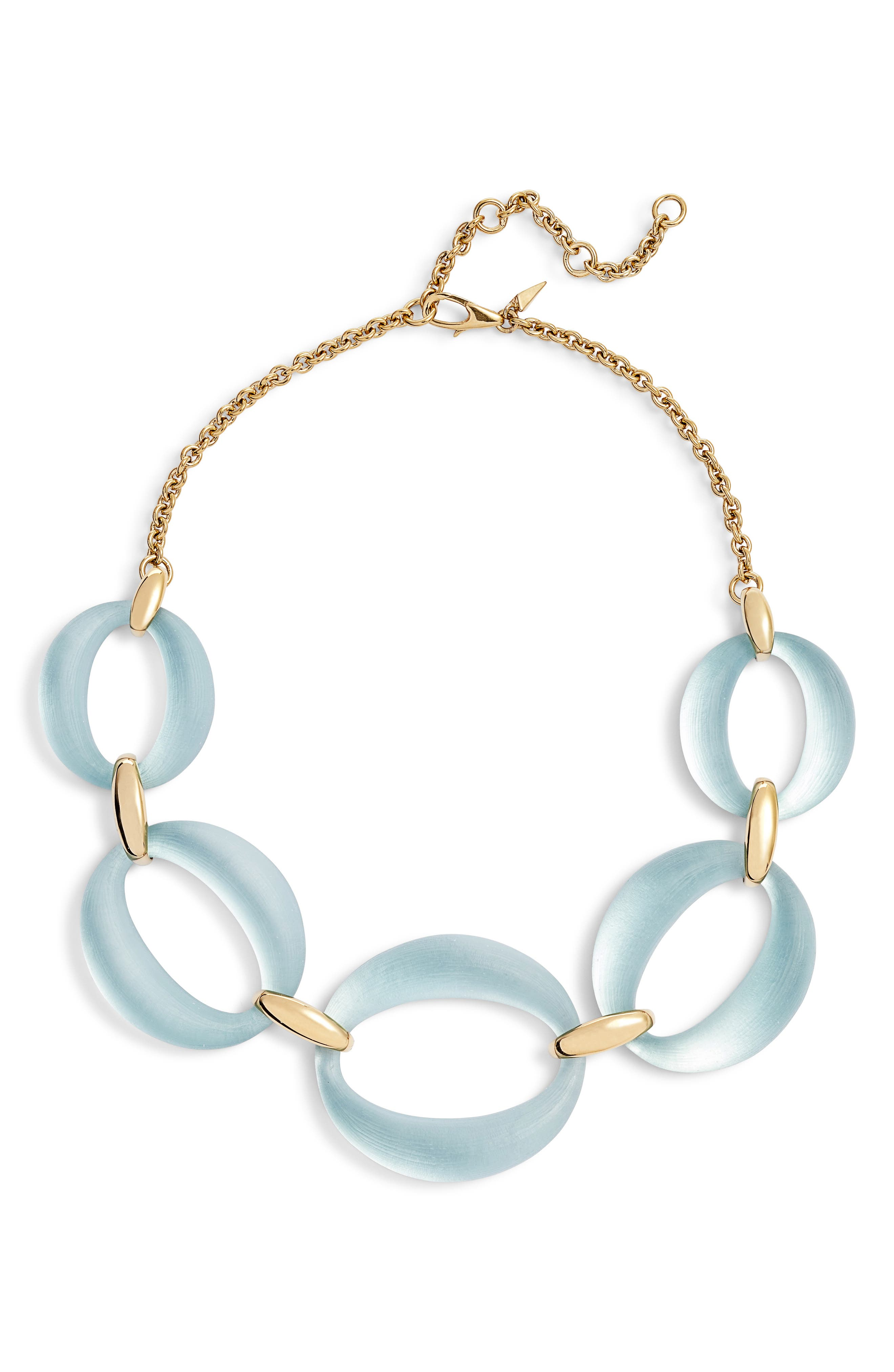 Large Lucite<sup>®</sup> Link Frontal Necklace,                         Main,                         color, Grey Blue