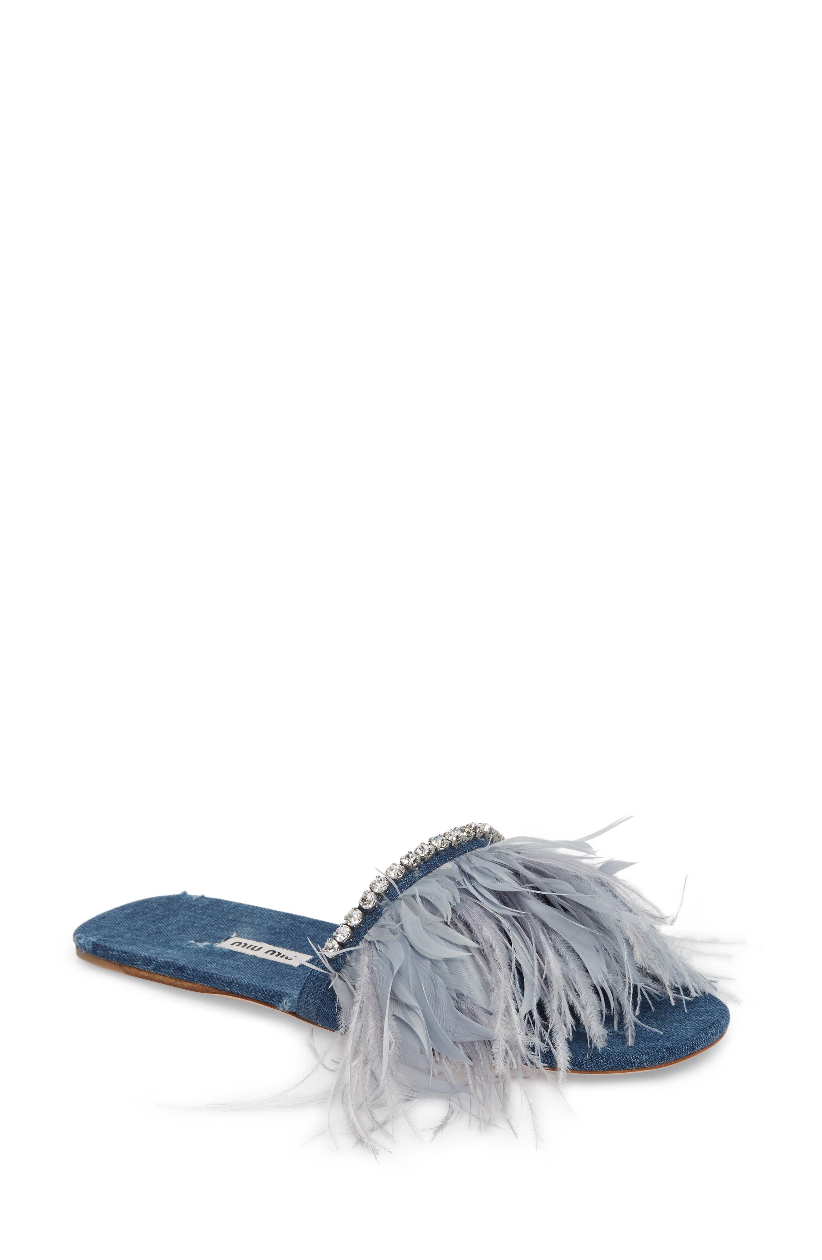 Feather Embellished Slide Sandal,                             Main thumbnail 1, color,                             Blue