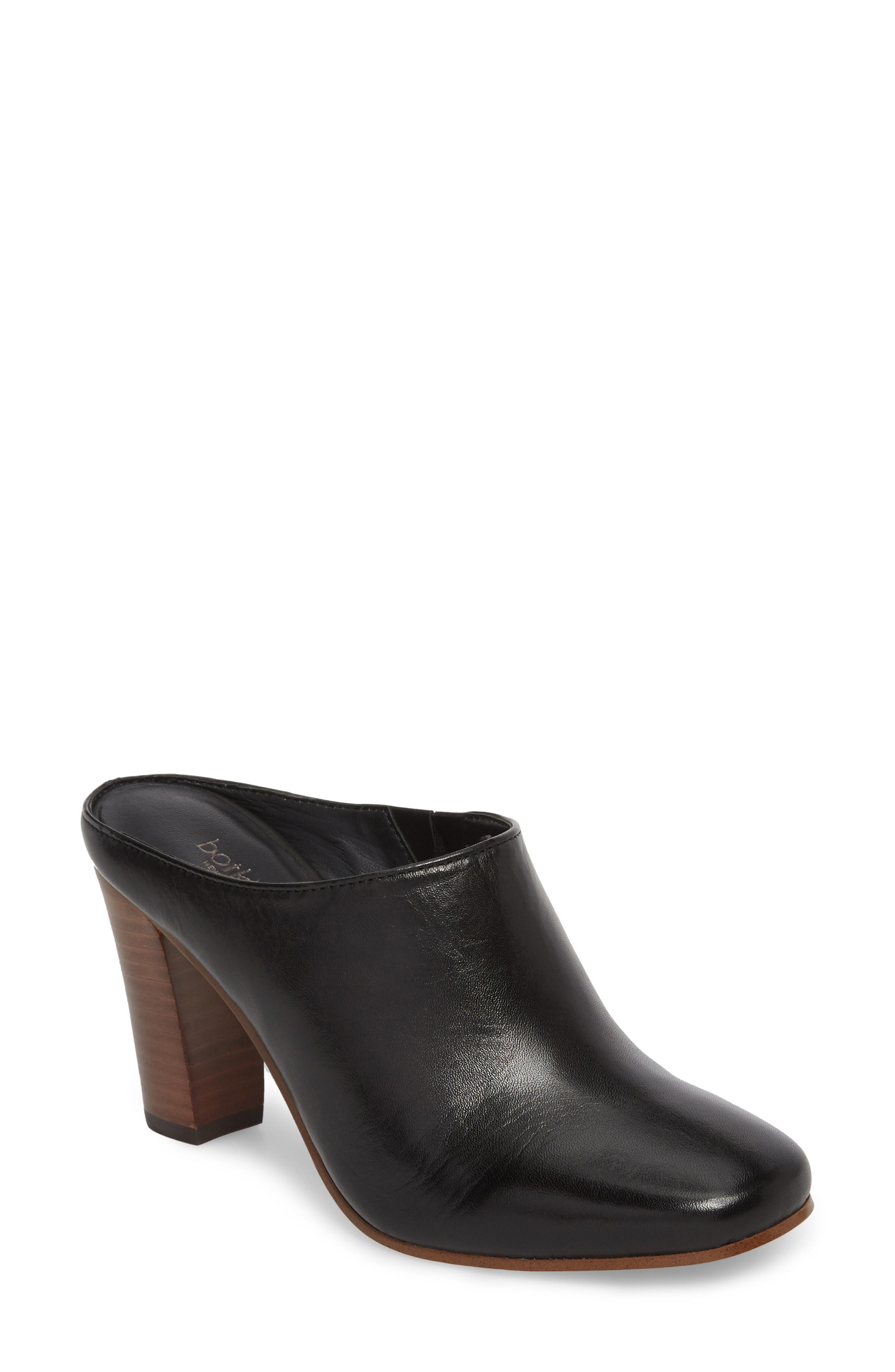 Sherry Mule,                             Main thumbnail 1, color,                             Black Nappa Leather