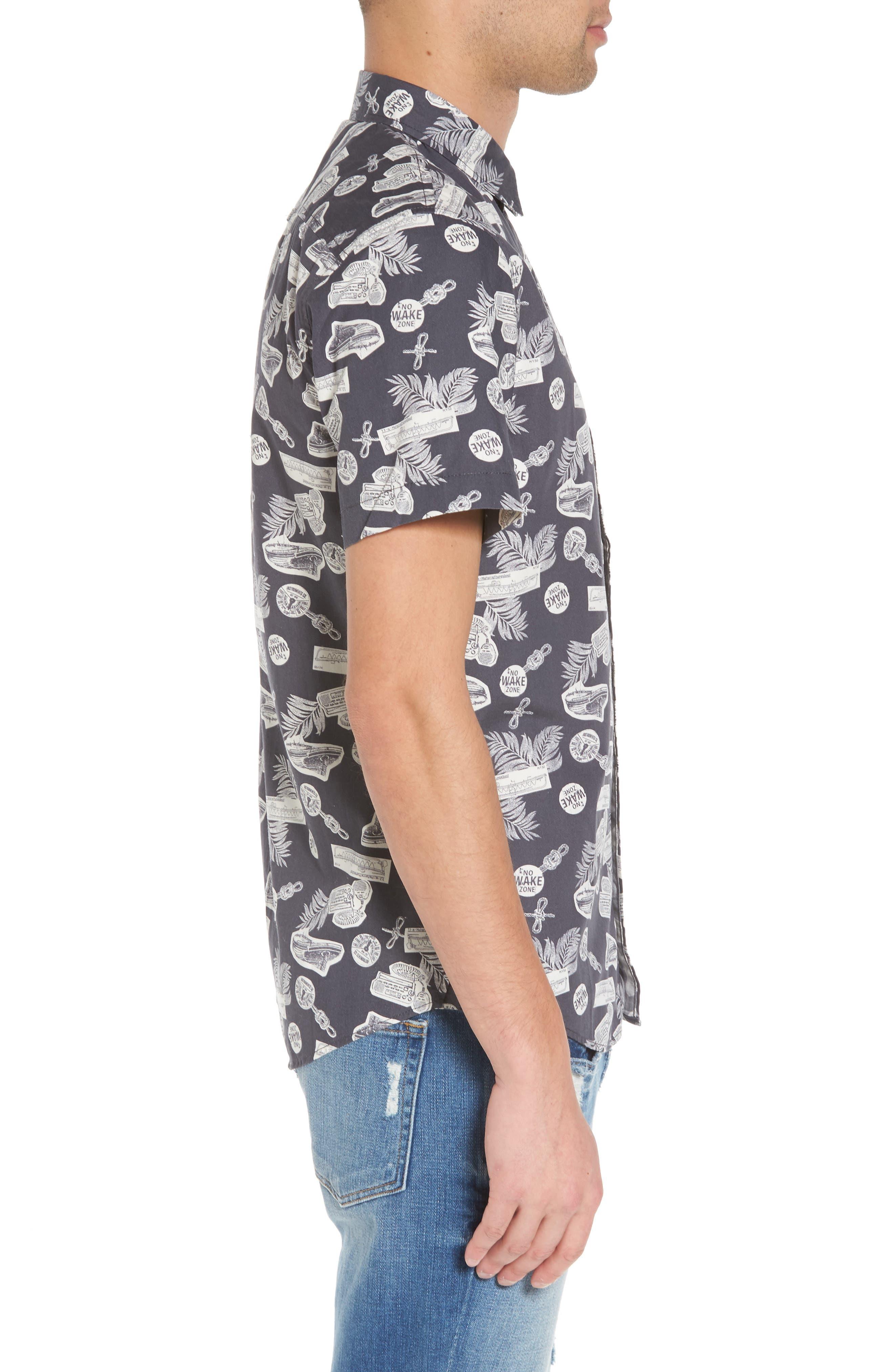 Short Sleeve Print Poplin Shirt,                             Alternate thumbnail 4, color,                             Grey Onyx Boat Print