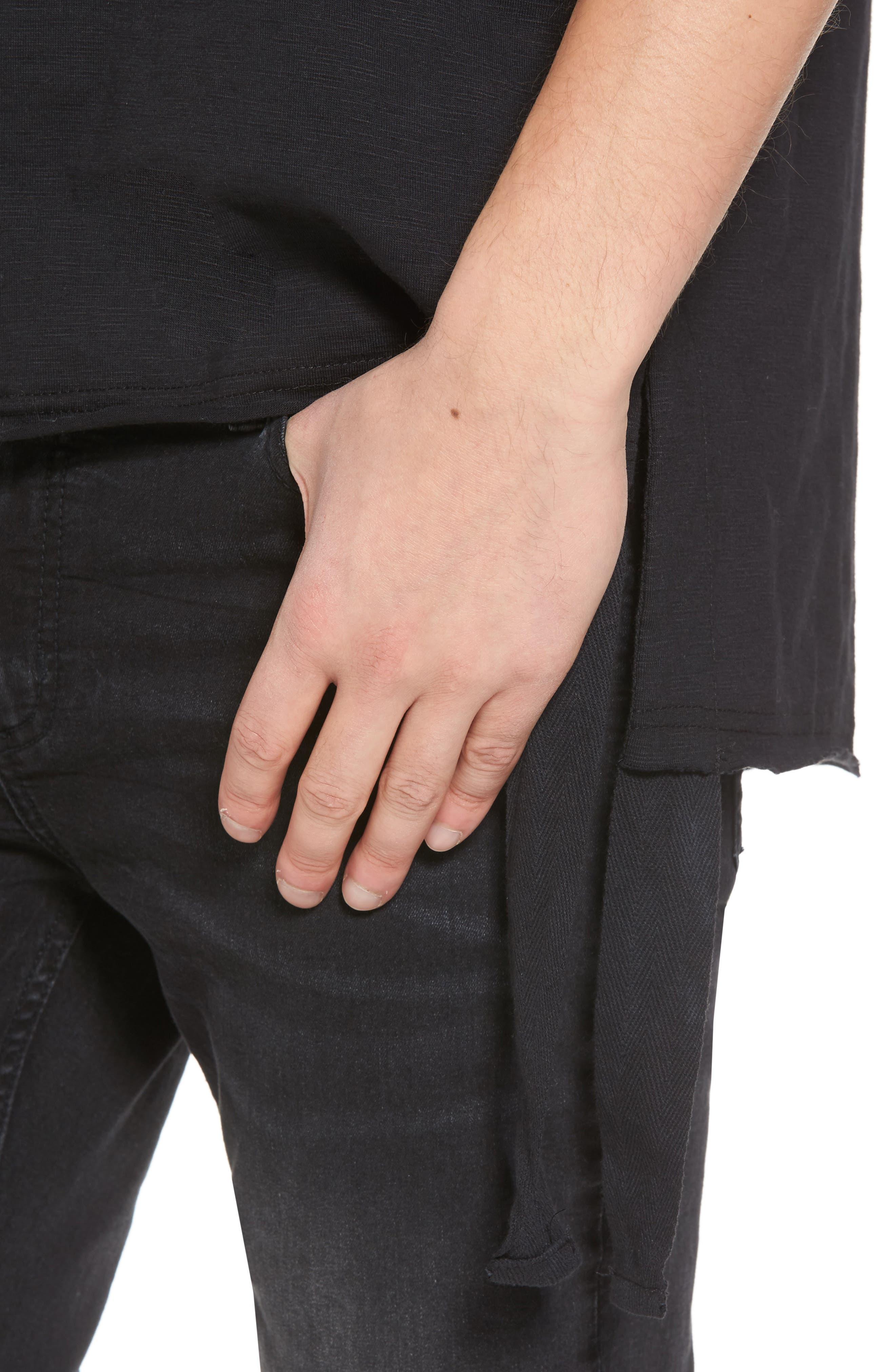 Raw Edge Strapped T-Shirt,                             Alternate thumbnail 4, color,                             Black Rock