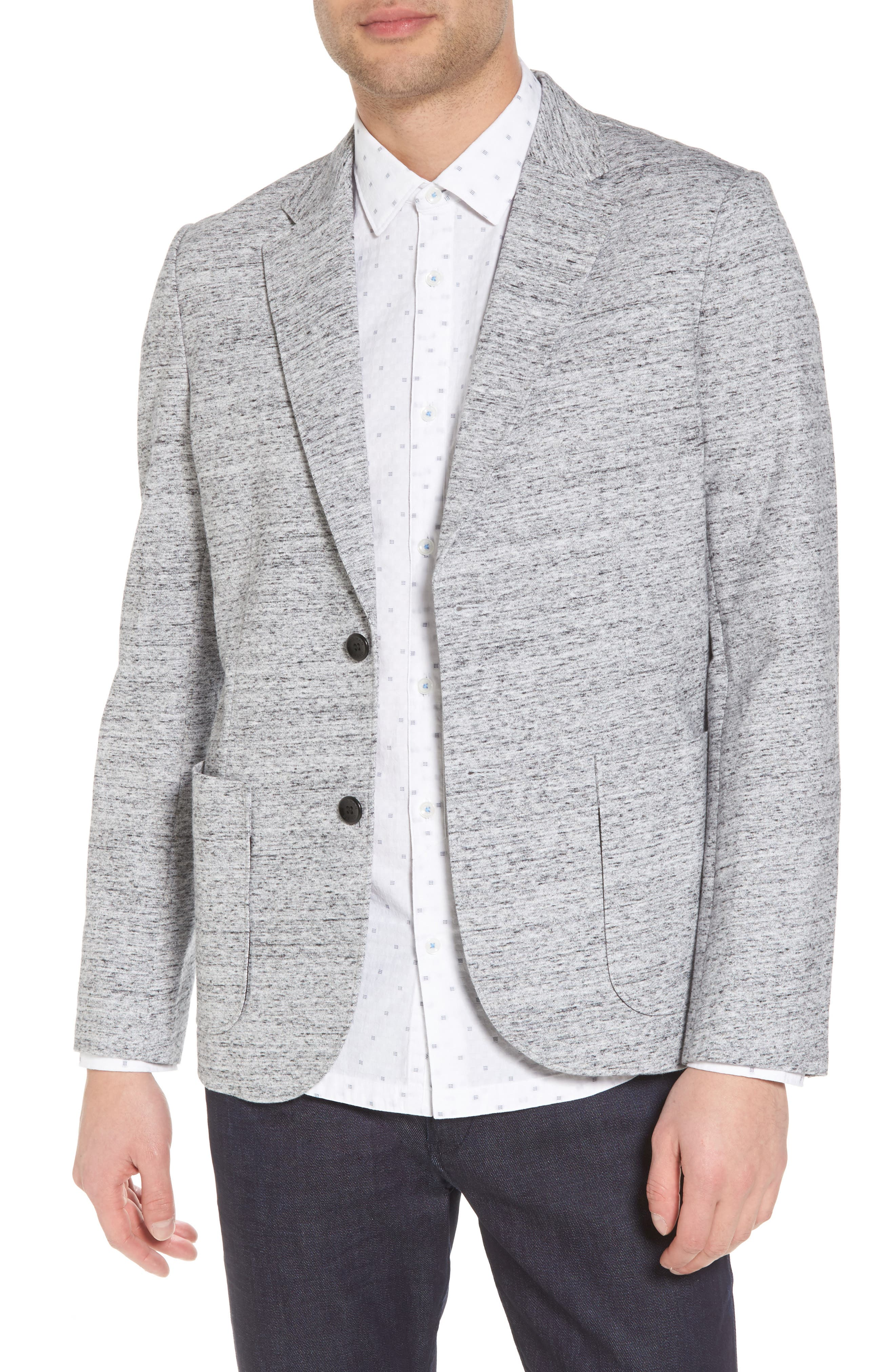 Soft Cotton Unconstructed Blazer,                             Main thumbnail 1, color,                             Grey Heather / White
