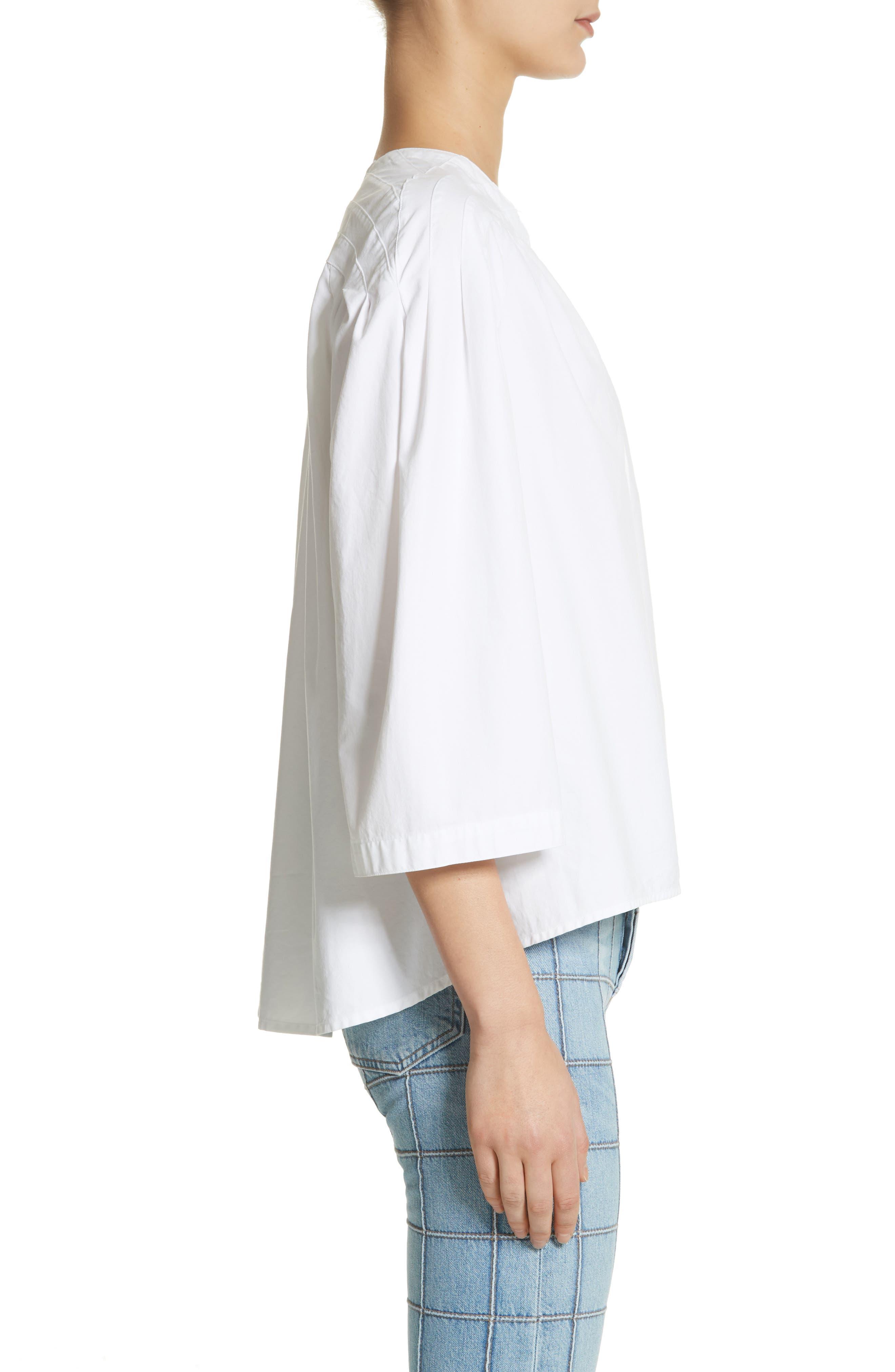 Ilona Lace-Up Cotton Top,                             Alternate thumbnail 3, color,                             White