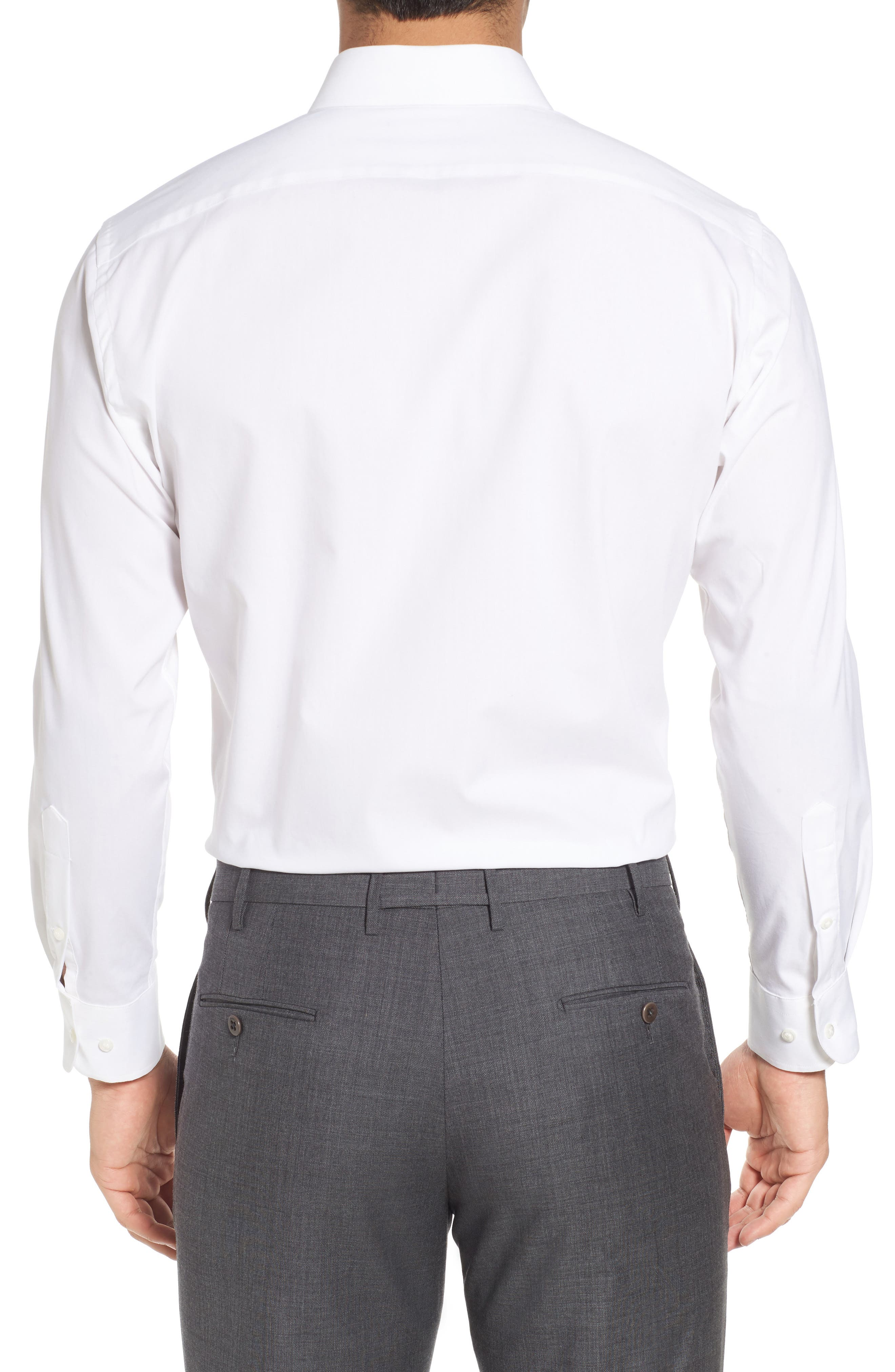 Tech-Smart Trim Fit Stretch Solid Dress Shirt,                             Alternate thumbnail 2, color,                             White