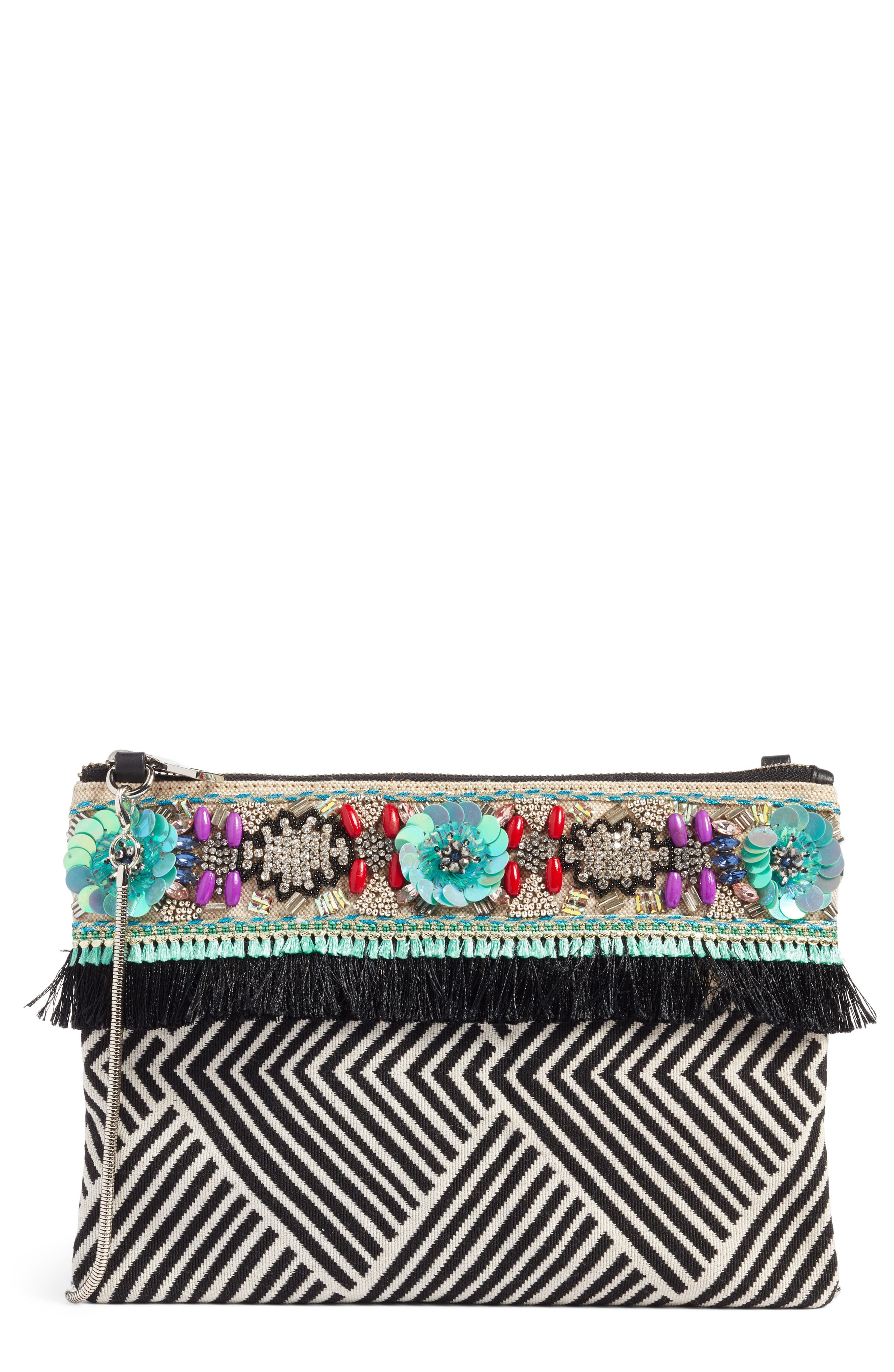 Beaded Clutch,                             Main thumbnail 1, color,                             Blue Multi