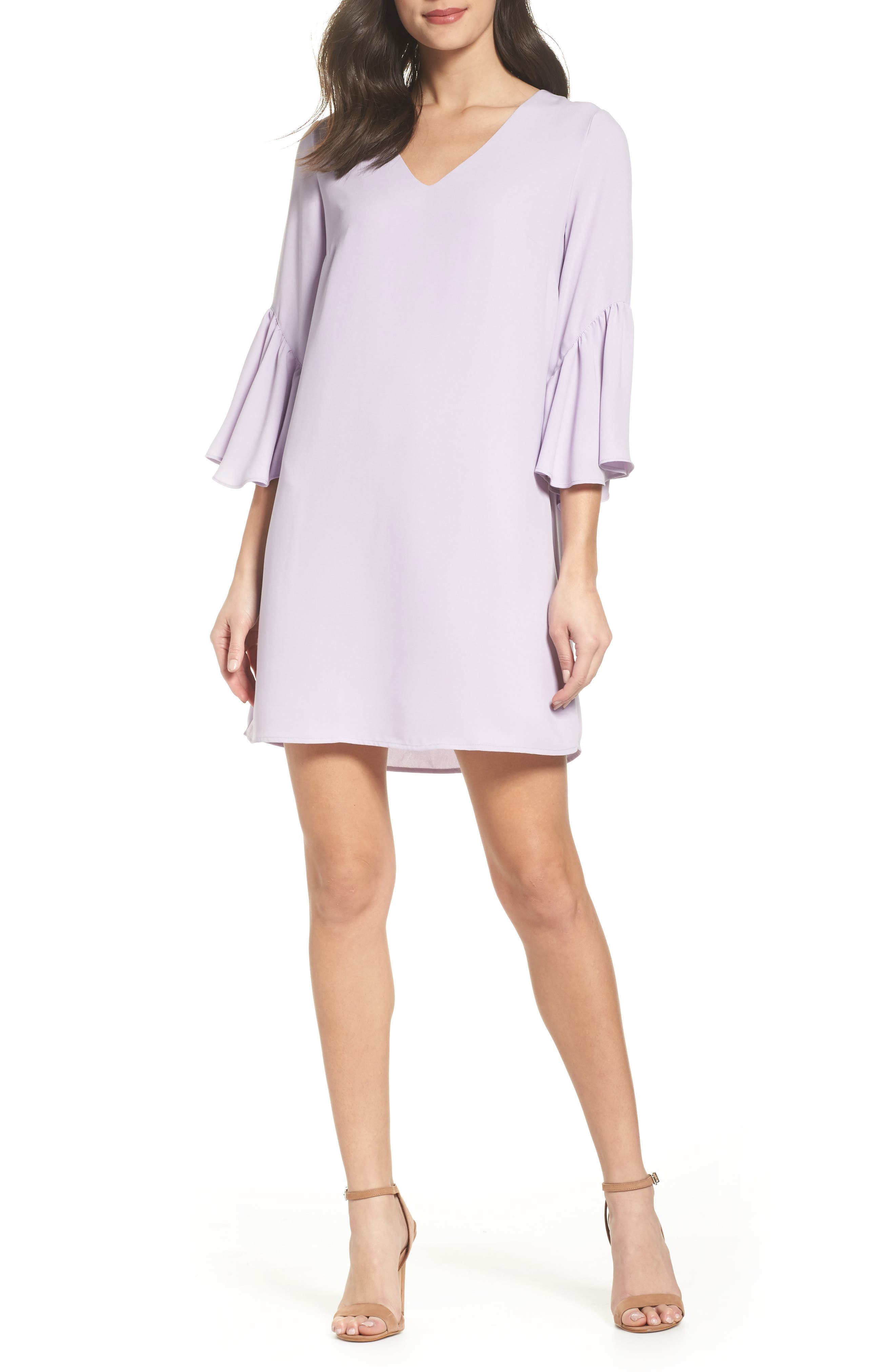 Bell Sleeve Shift Dress,                             Main thumbnail 1, color,                             Purple Petal