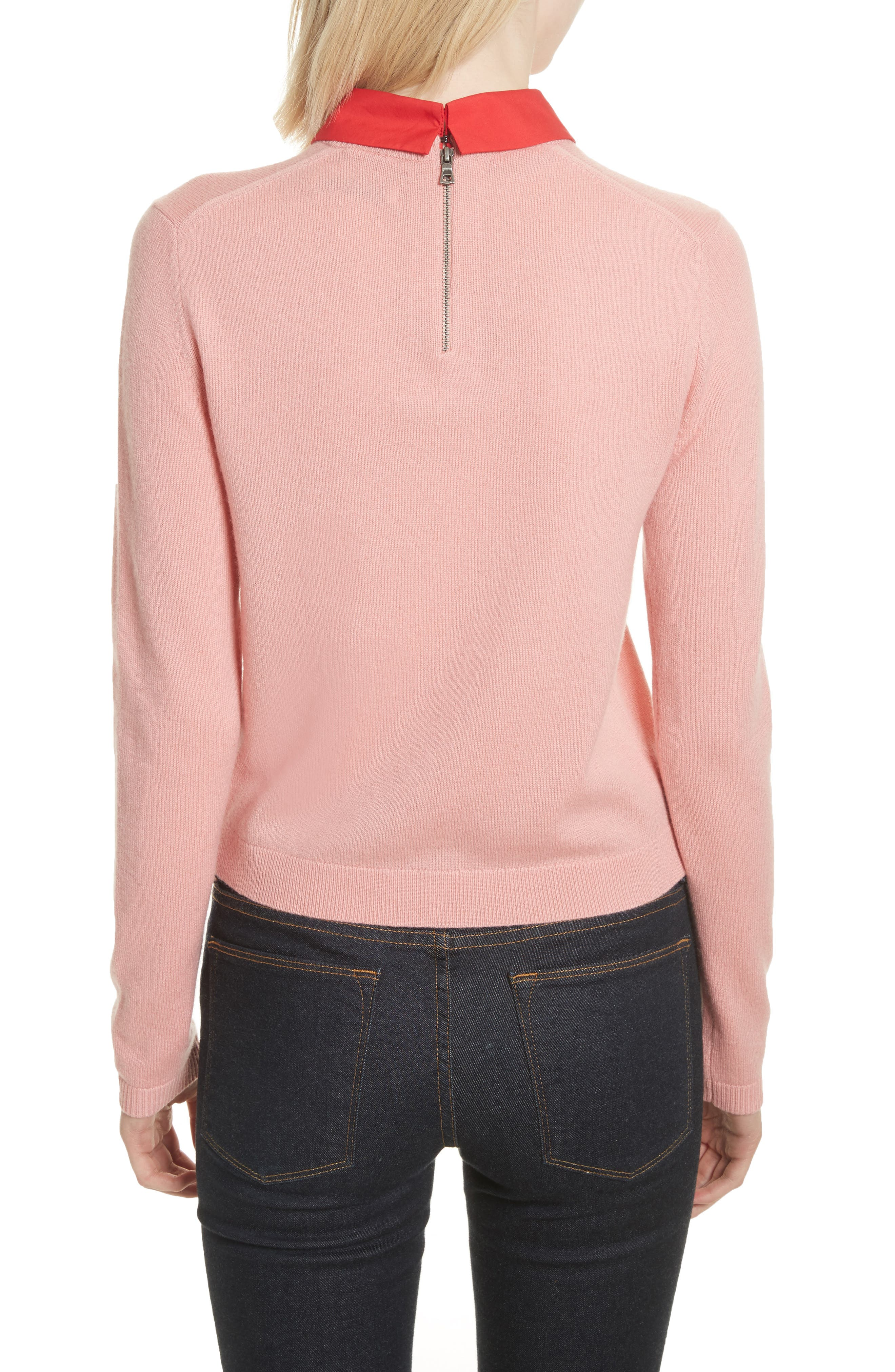 Big Love Embroidered Cashmere Sweater,                             Alternate thumbnail 2, color,                             Millennial Pink/ Apple