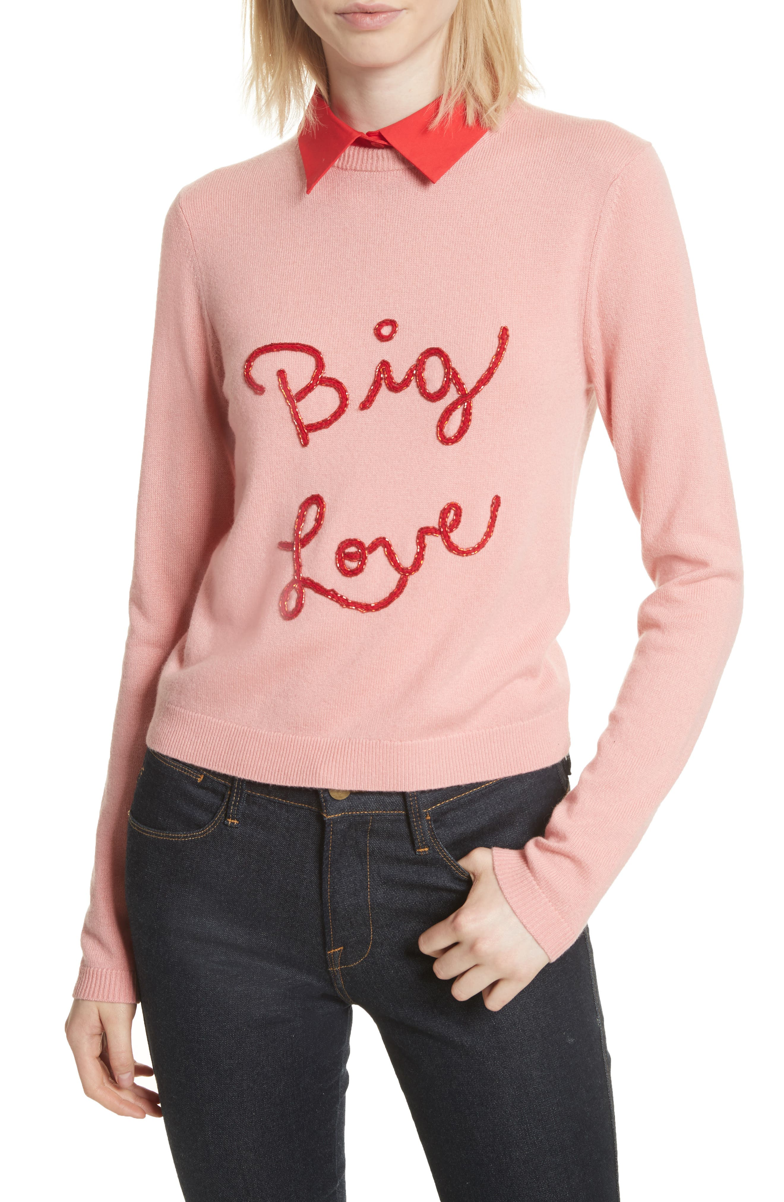 Big Love Embroidered Cashmere Sweater,                         Main,                         color, Millennial Pink/ Apple