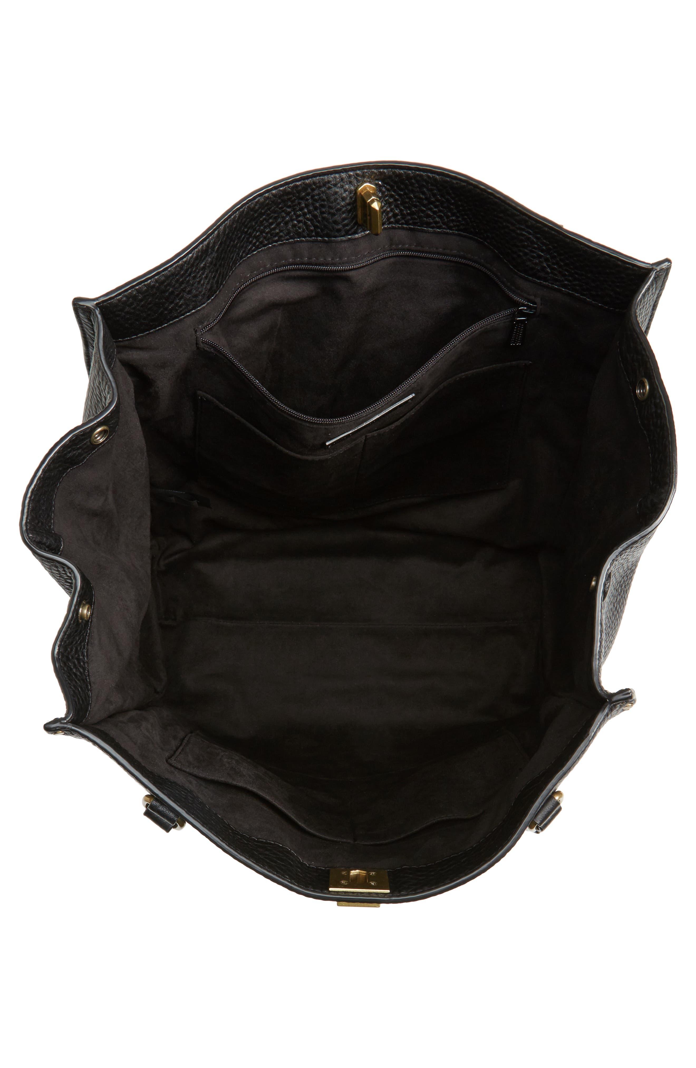 Darren Deerskin Leather Tote,                             Alternate thumbnail 4, color,                             Black