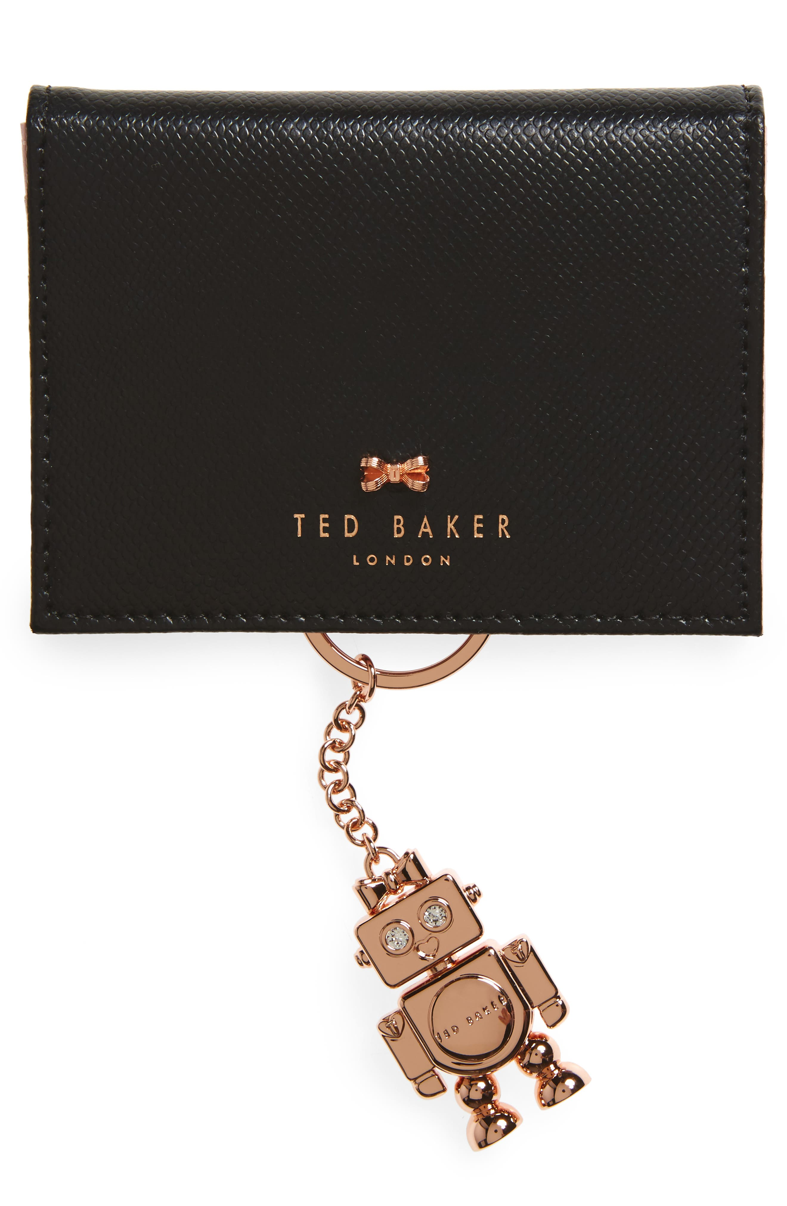 Leather Card Case with Robot Key Chain,                         Main,                         color, Black