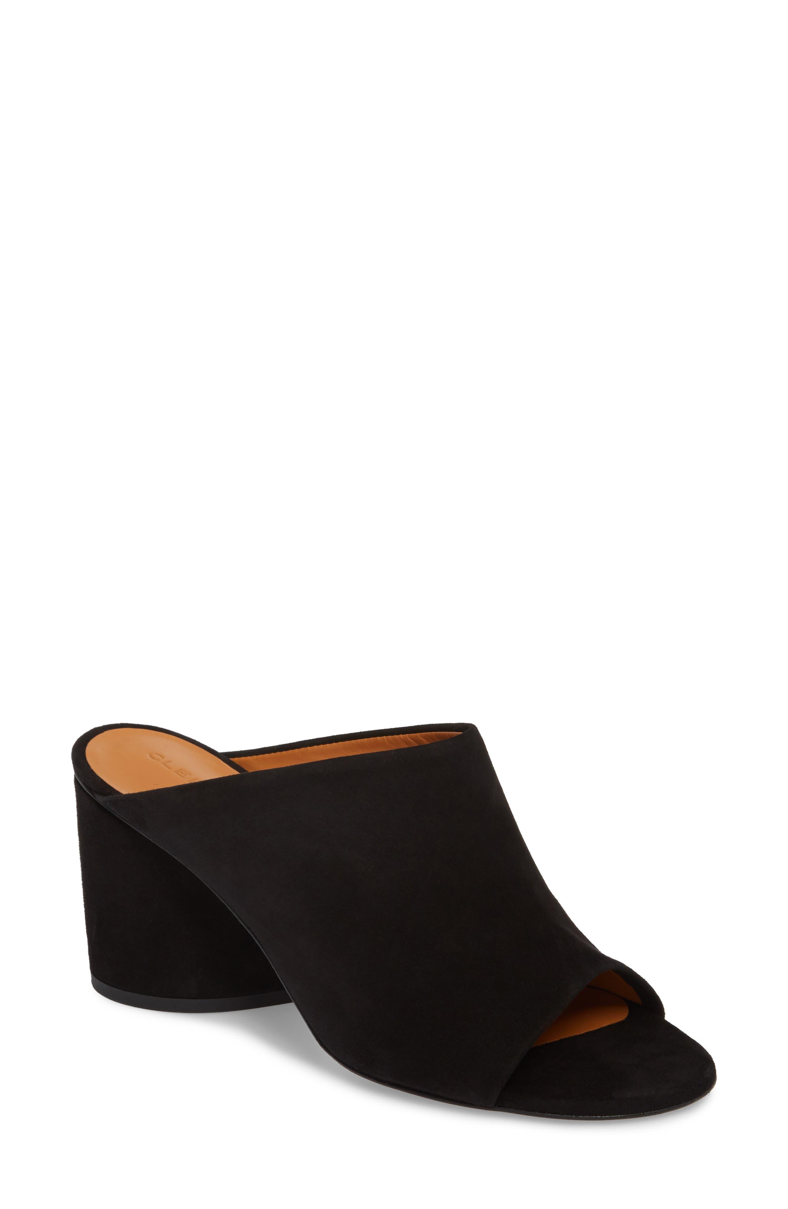 Caren Peep Toe Mule,                         Main,                         color, Black Suede