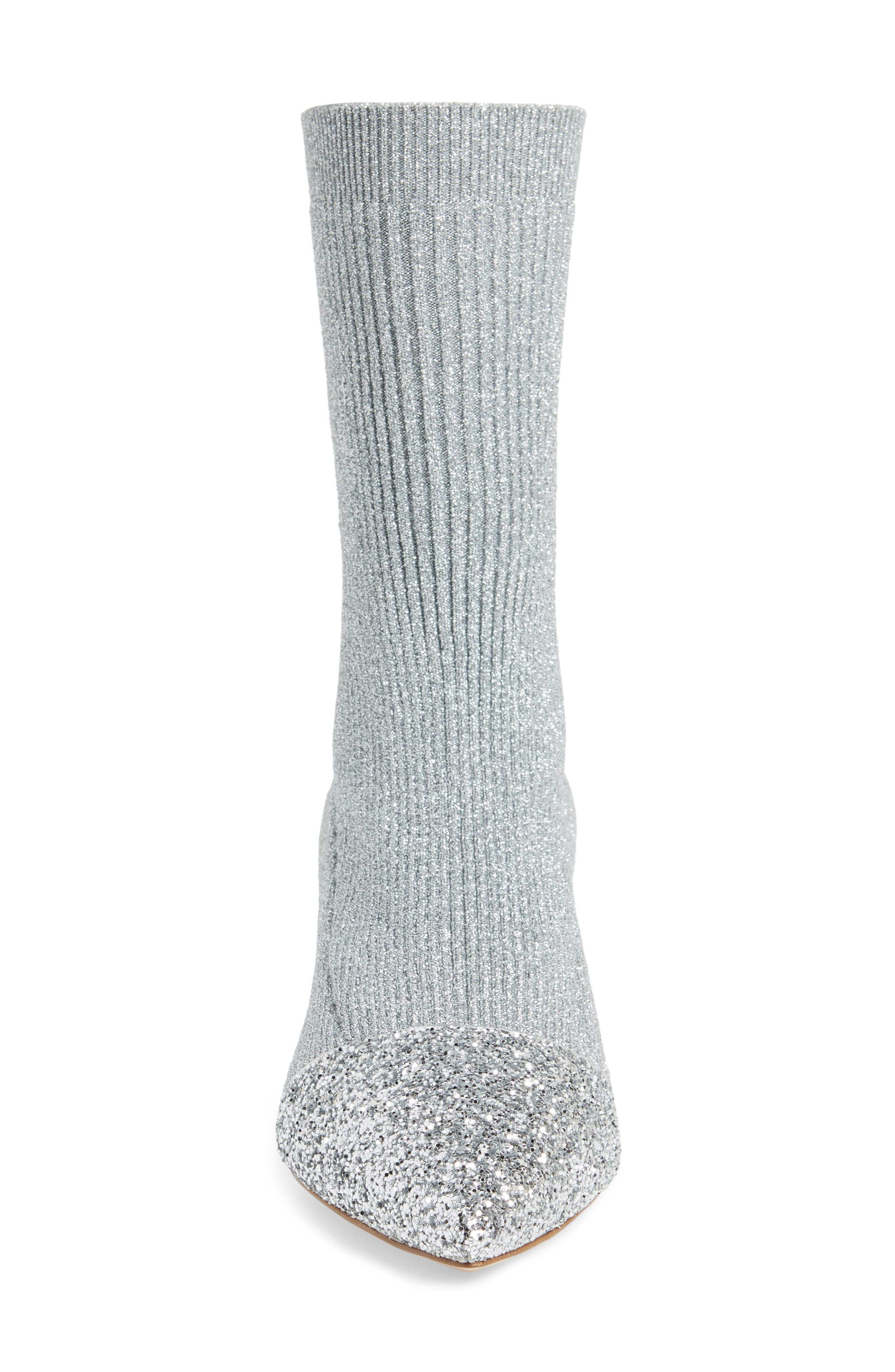 Embellished Metallic Sock Bootie,                             Alternate thumbnail 4, color,                             Silver