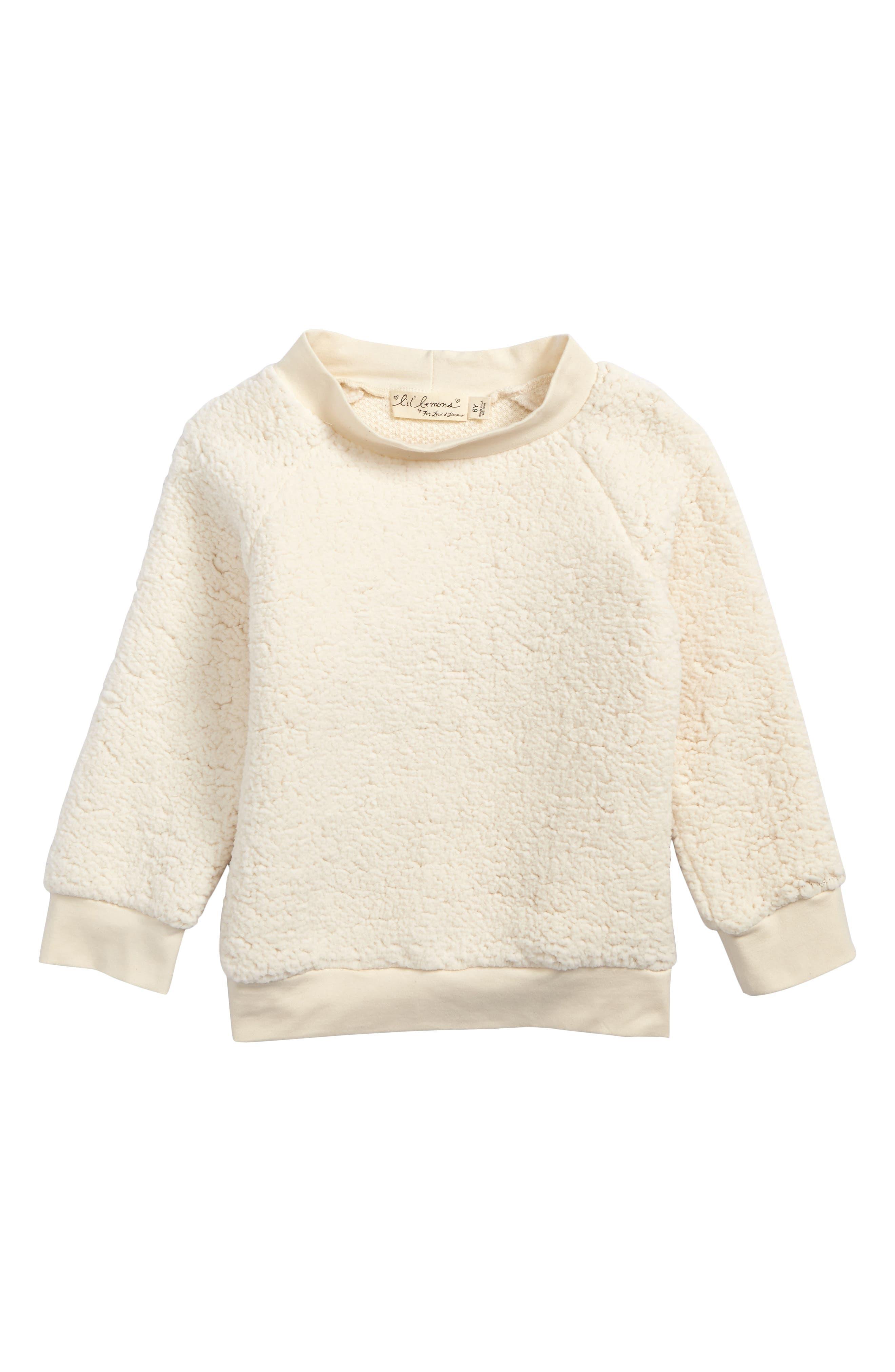 Main Image - Lil Lemons by For Love & Lemons Fuzzy Raglan Sweatshirt (Toddler Girls & Little Girls)