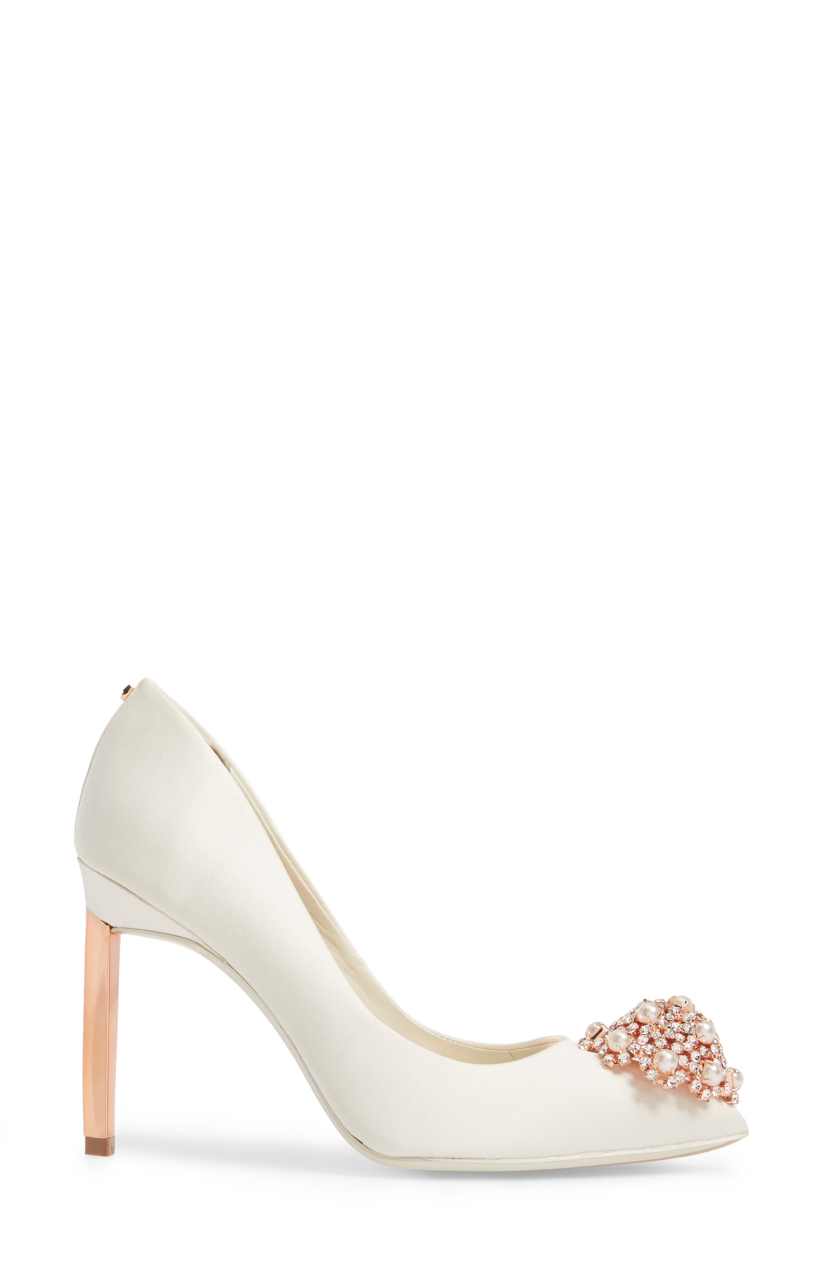 'Peetch' Pointy Toe Pump,                             Alternate thumbnail 3, color,                             Ivory Satin
