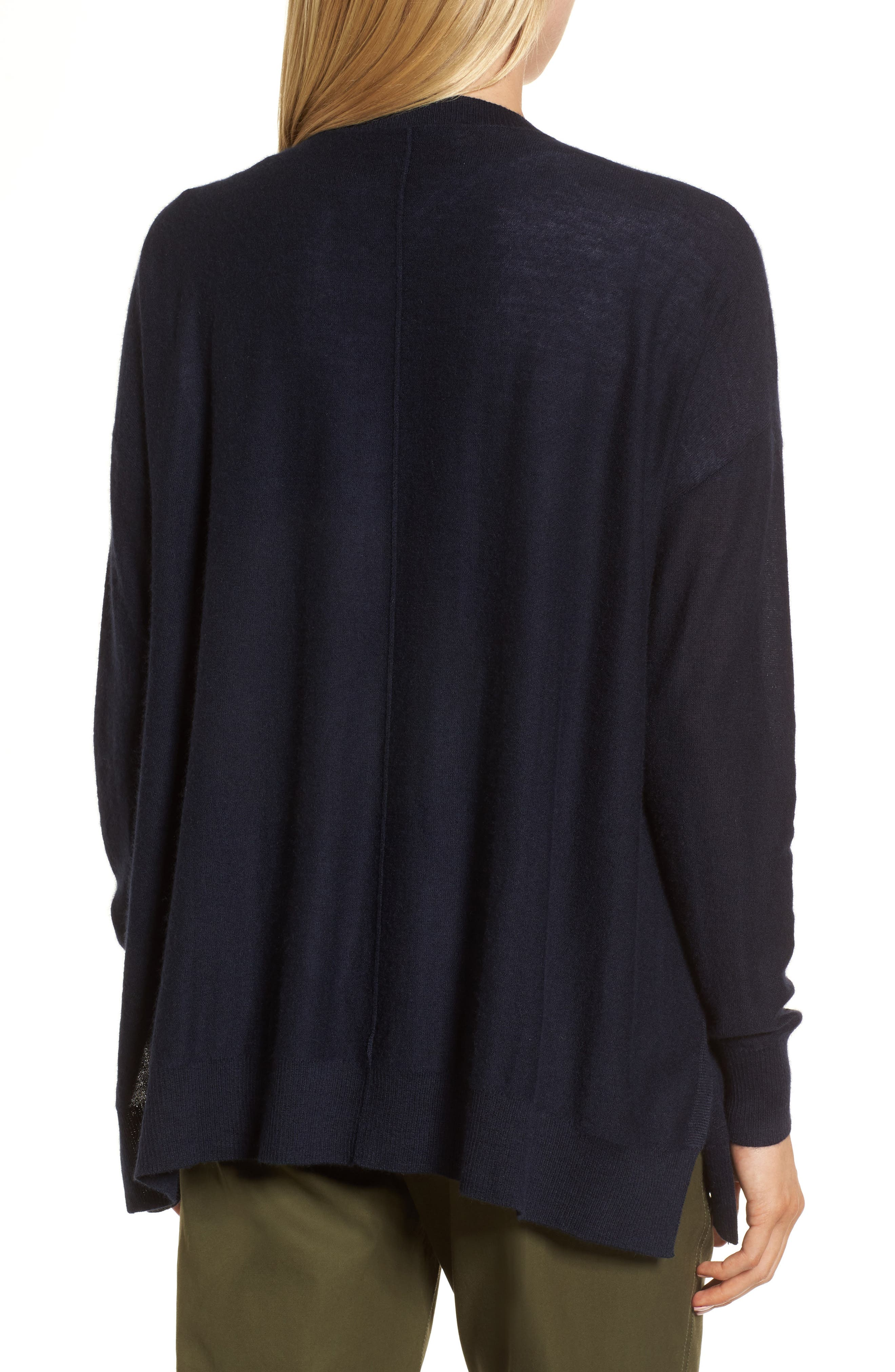 Button Front Cardigan,                             Alternate thumbnail 2, color,                             Navy Night