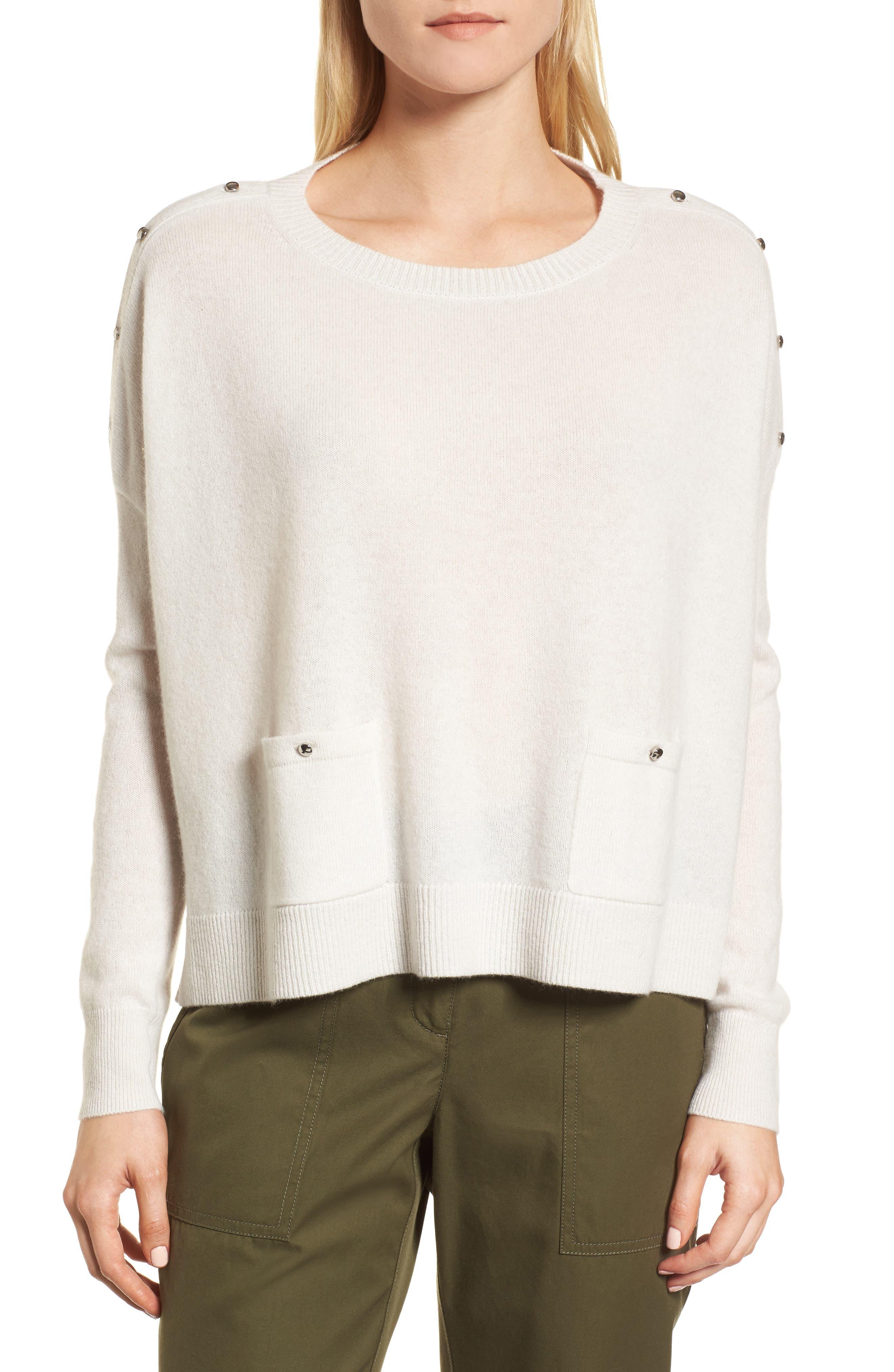 Button Detail Cashmere Sweater,                             Main thumbnail 1, color,                             Beige Pumice