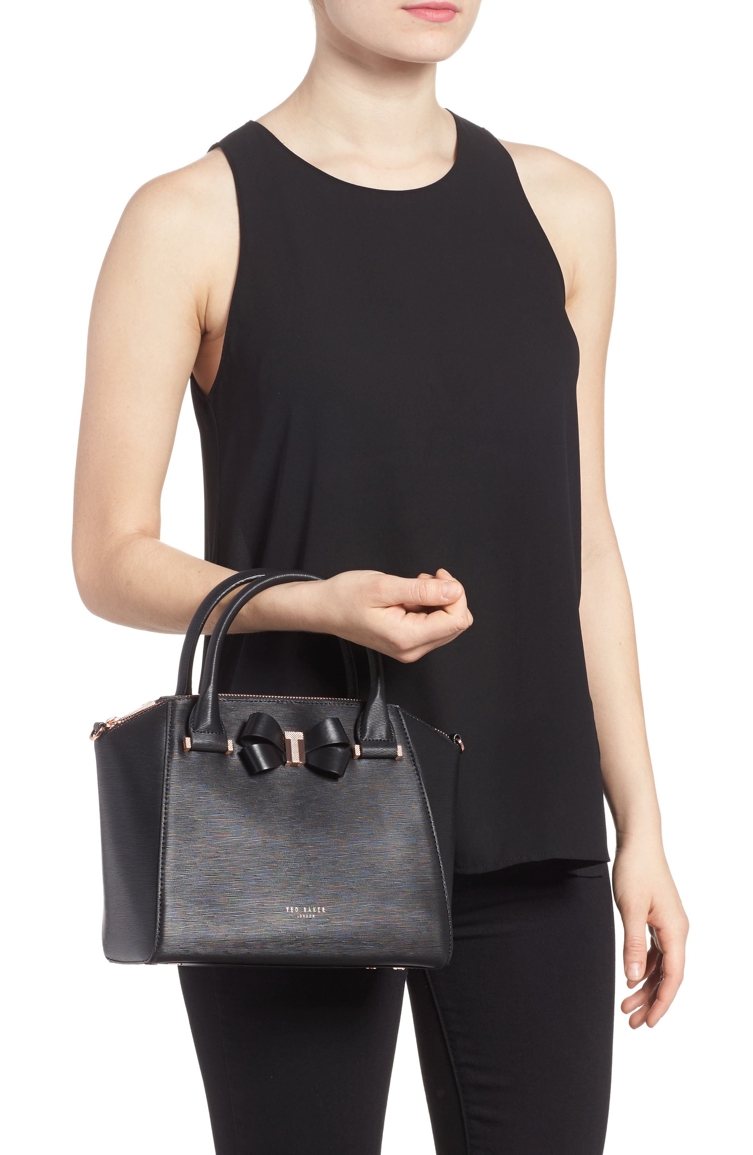 Charmea Bow Small Leather Tote,                             Alternate thumbnail 2, color,                             Black