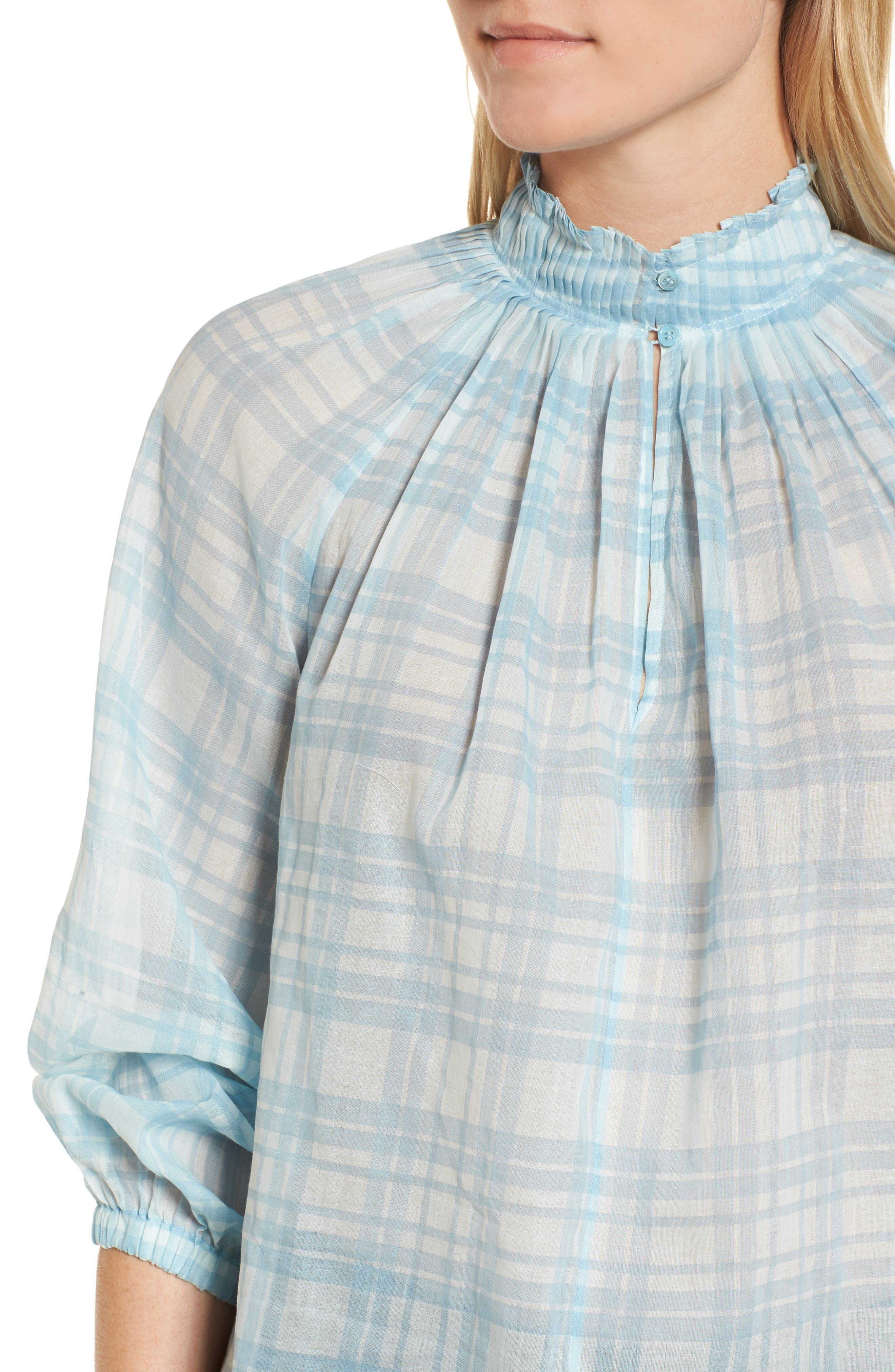 Pleated Detail Top,                             Alternate thumbnail 4, color,                             Blue Gem