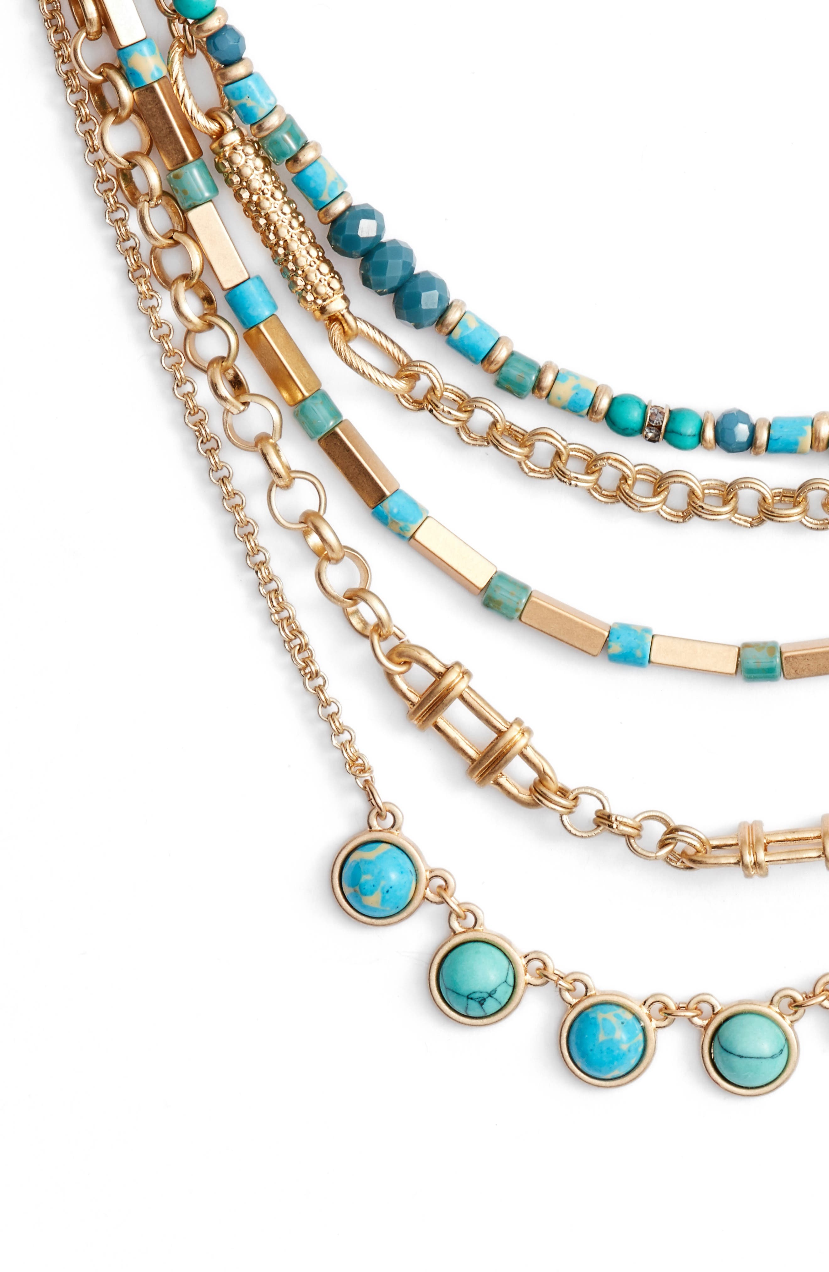 Five-Layer Stone Necklace,                             Alternate thumbnail 2, color,                             Turquoise- Gold