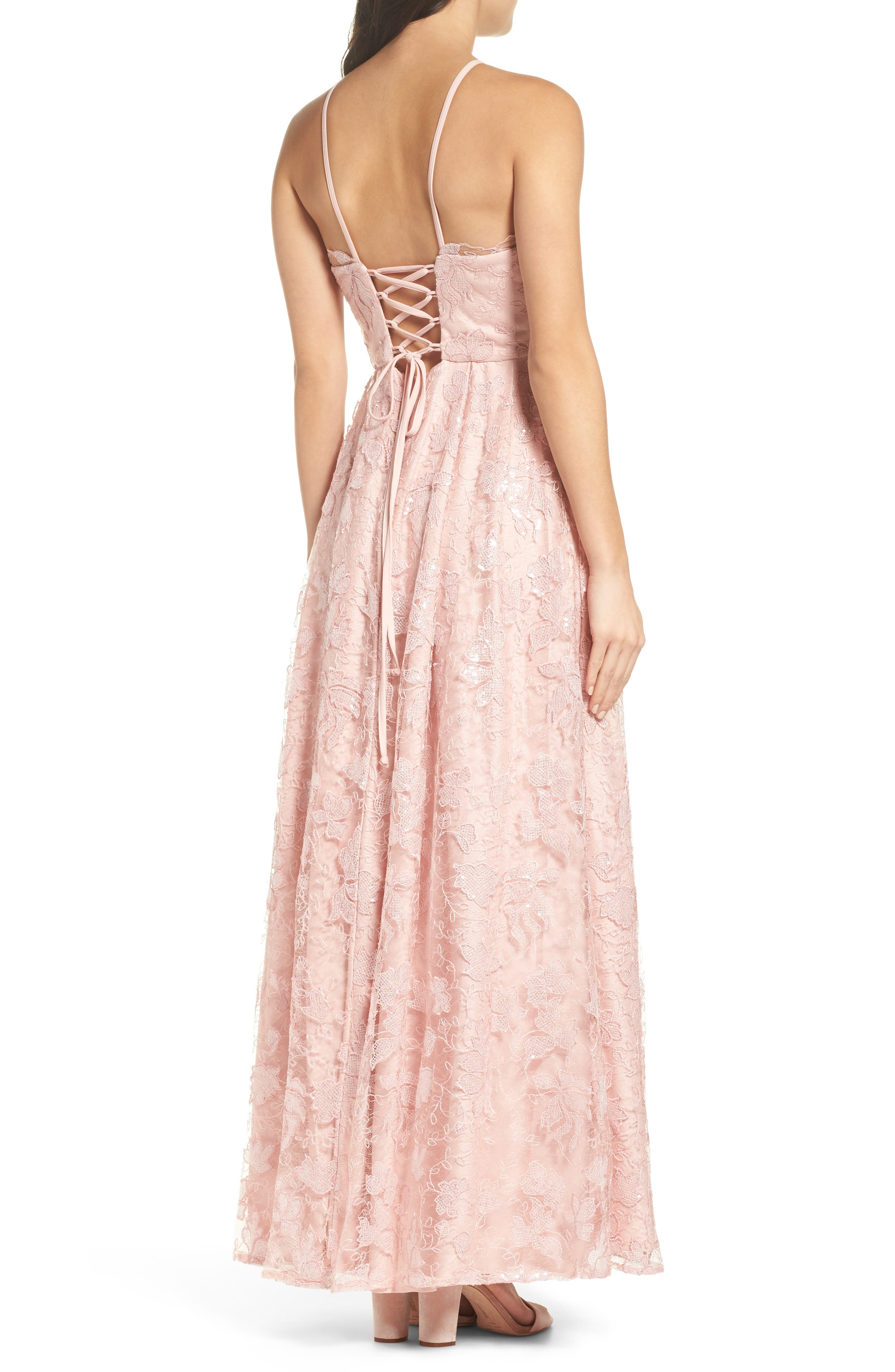 Alternate Image 2  - Morgan & Co. Lace-Up Back Embroidered Gown